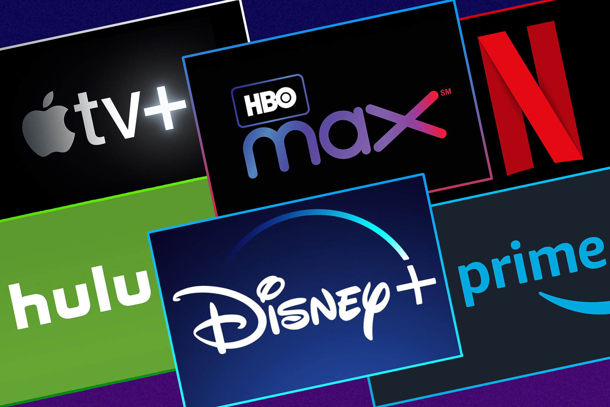 The logos of six streaming services: Apple TV Plus, HBO Max, Netflix, Hulu, Disney Plus and Amazon Prime Video,