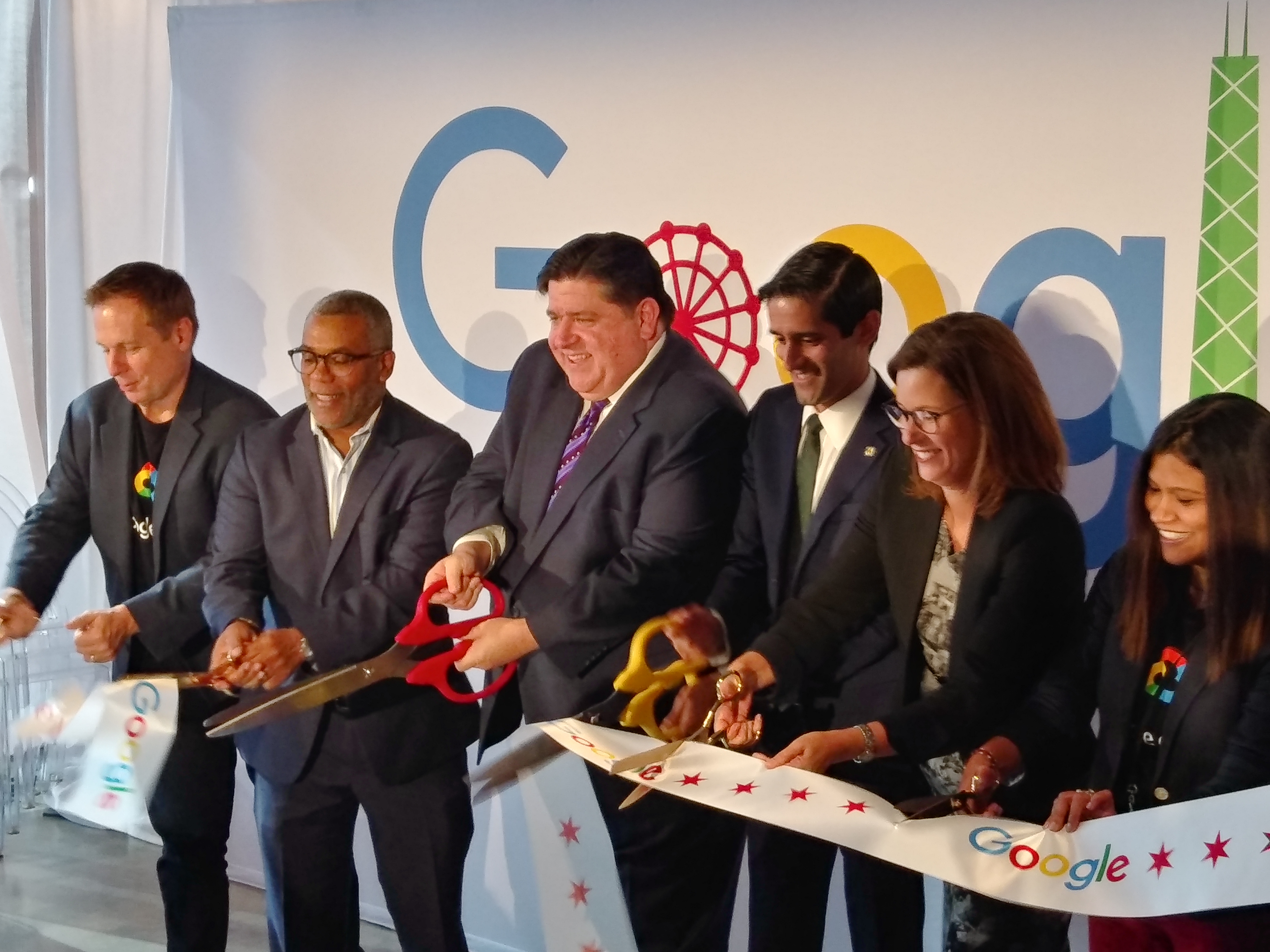 Gov. J.B. Pritzker cuts the ribbon Thursday to open Google's office at 210 N. Carpenter St.