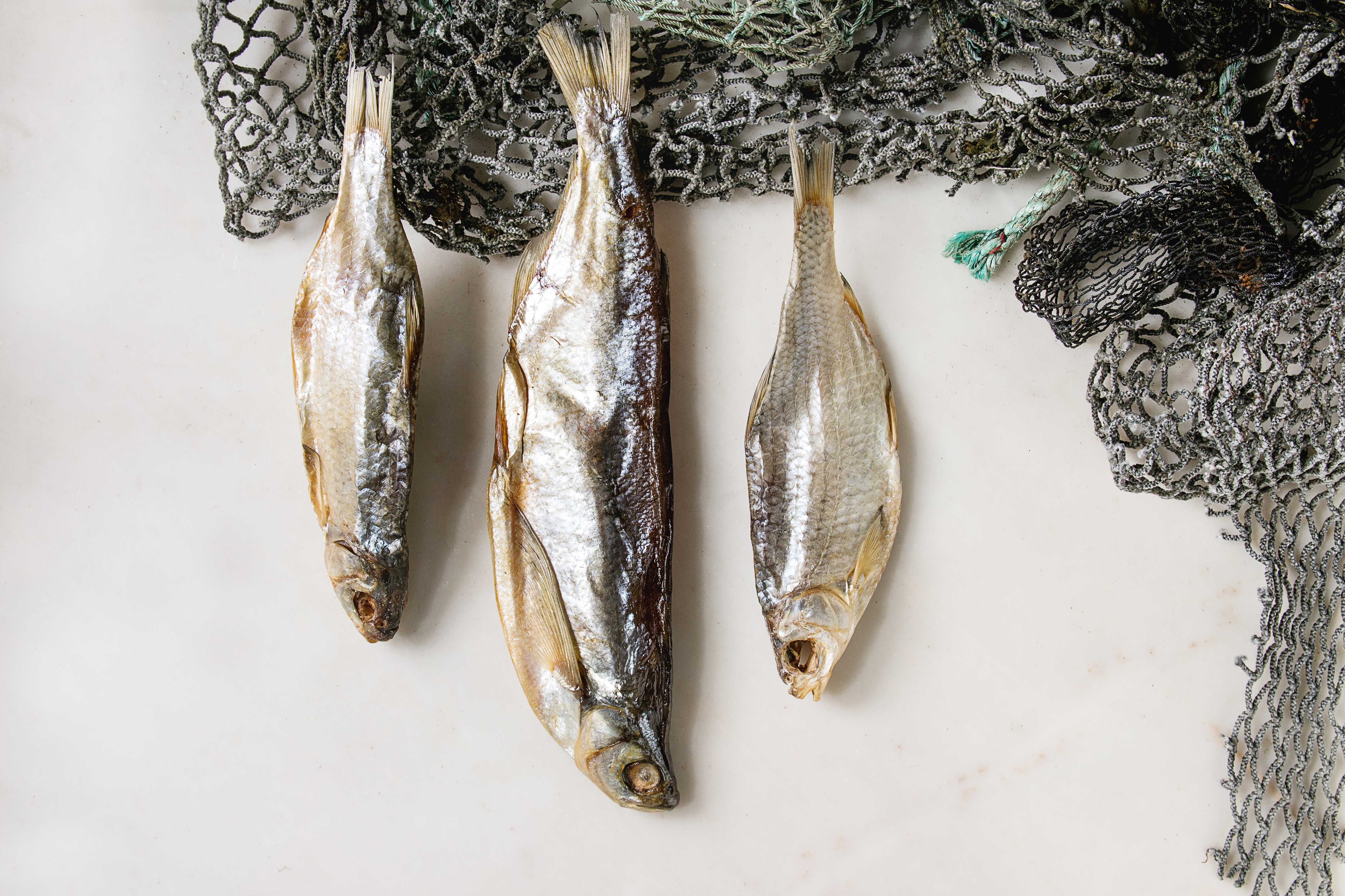 Dried fish or stockfish on fishing nets over white marble background. Flat lay. space