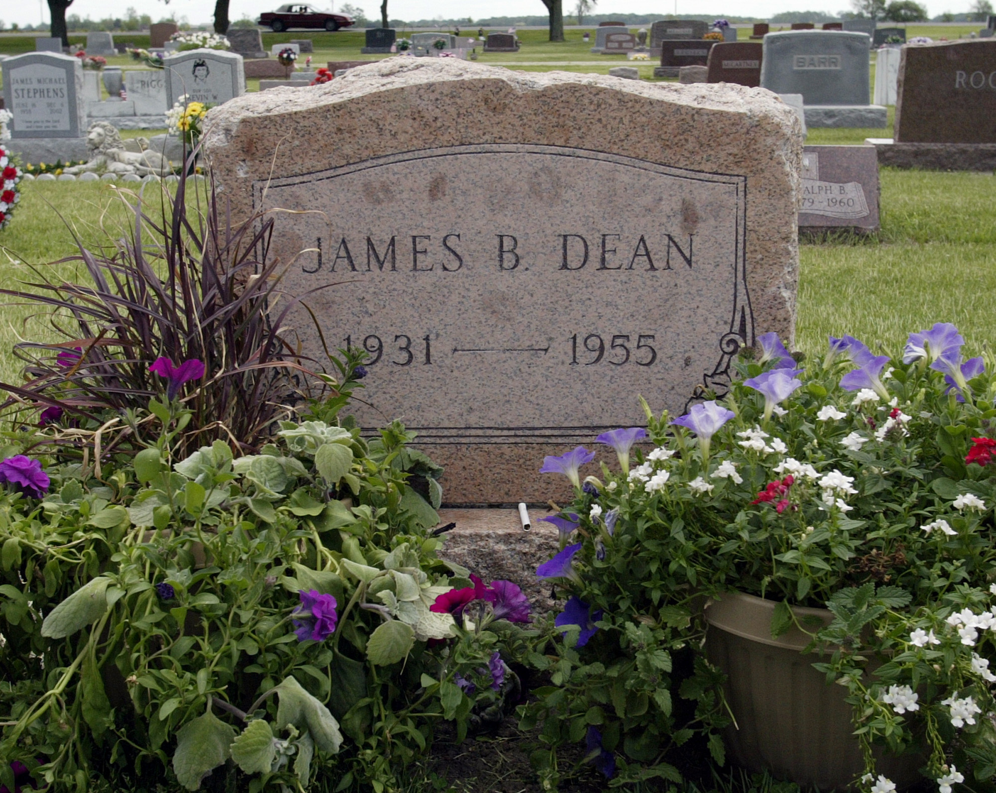This 2005 file photo shows plants and flowers at the grave of actor James Dean in Fairmount, Indiana.
