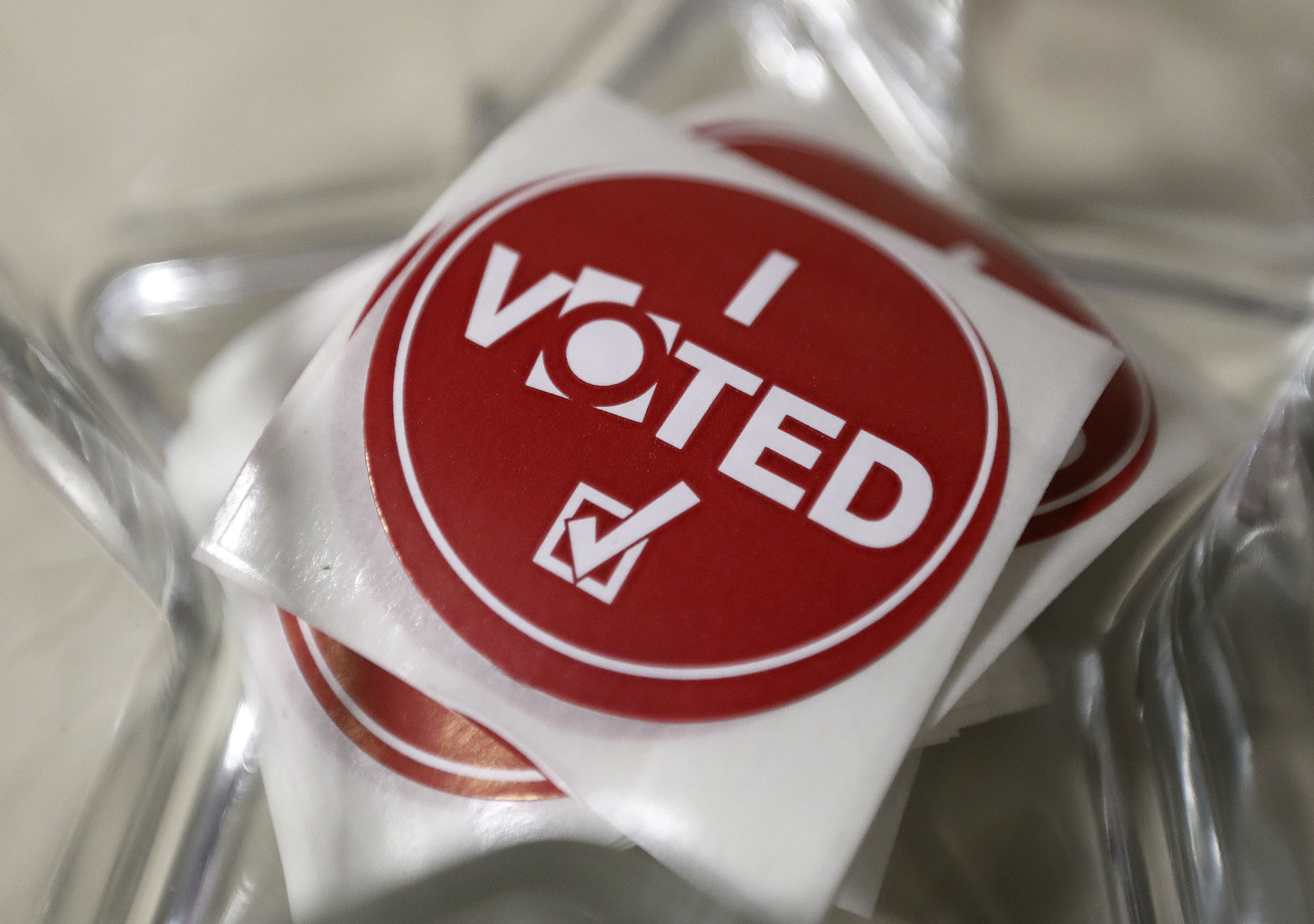 """""""I Voted"""" stickers are pictured at the Salt Lake County Government Center in Salt Lake City on Election Day, Tuesday, Nov. 5, 2019."""