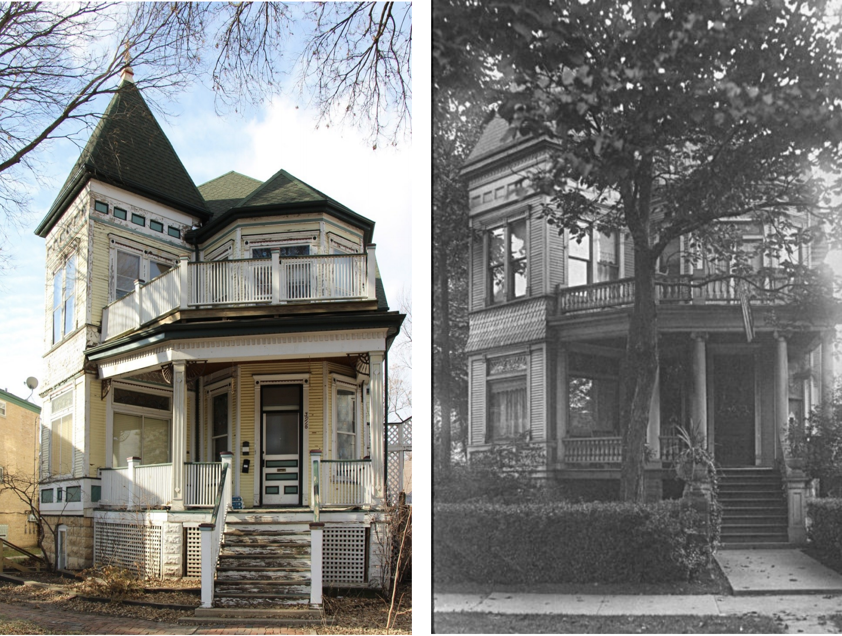 A photo of the same house then and now. One color photo next to a black and white photo.