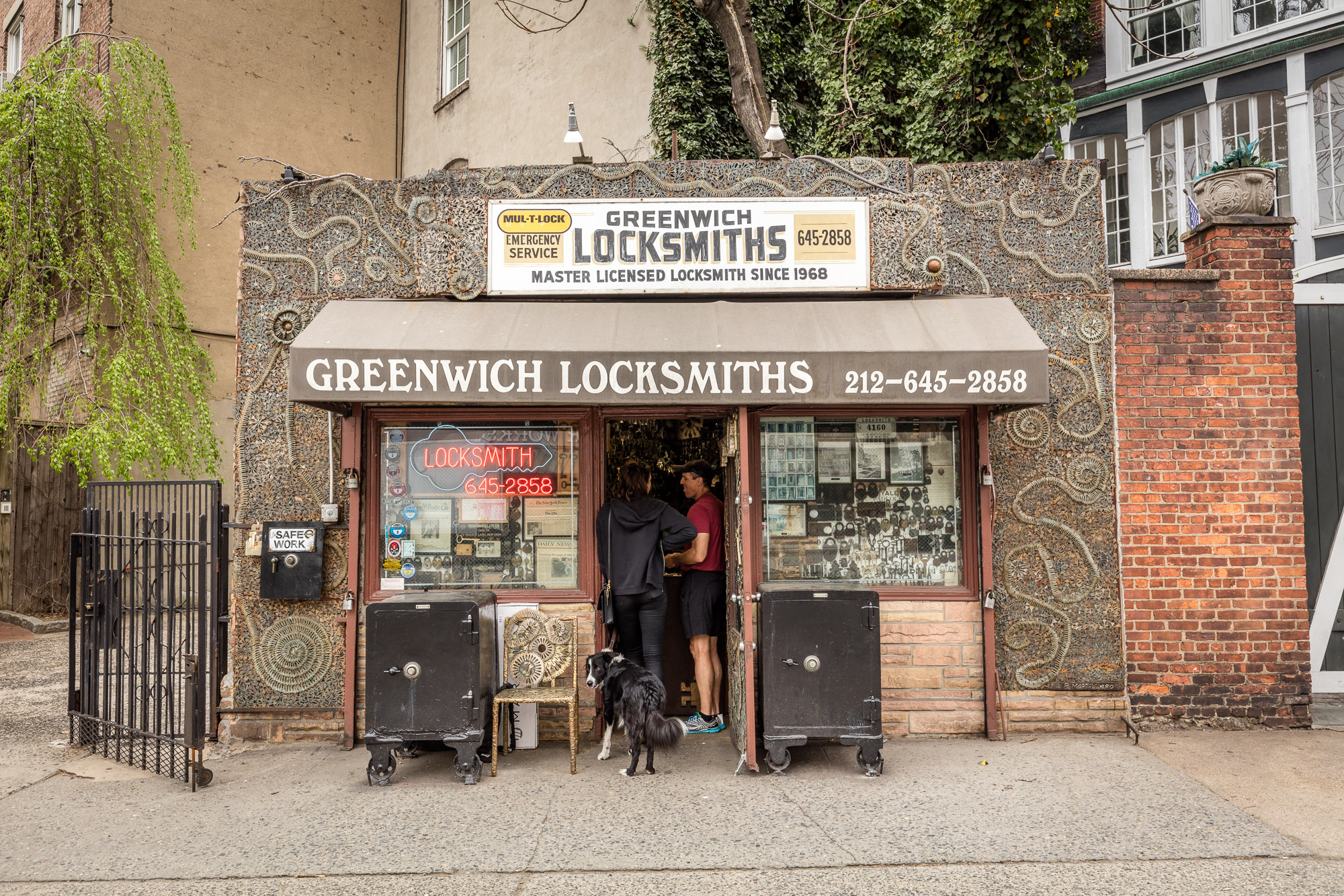 A tiny, one-story locksmith storefront in Greenwich Village.
