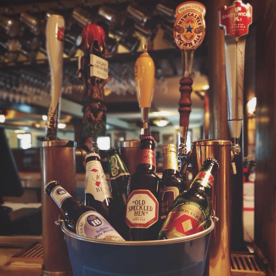 Beers in a bucket at the Black Labrador
