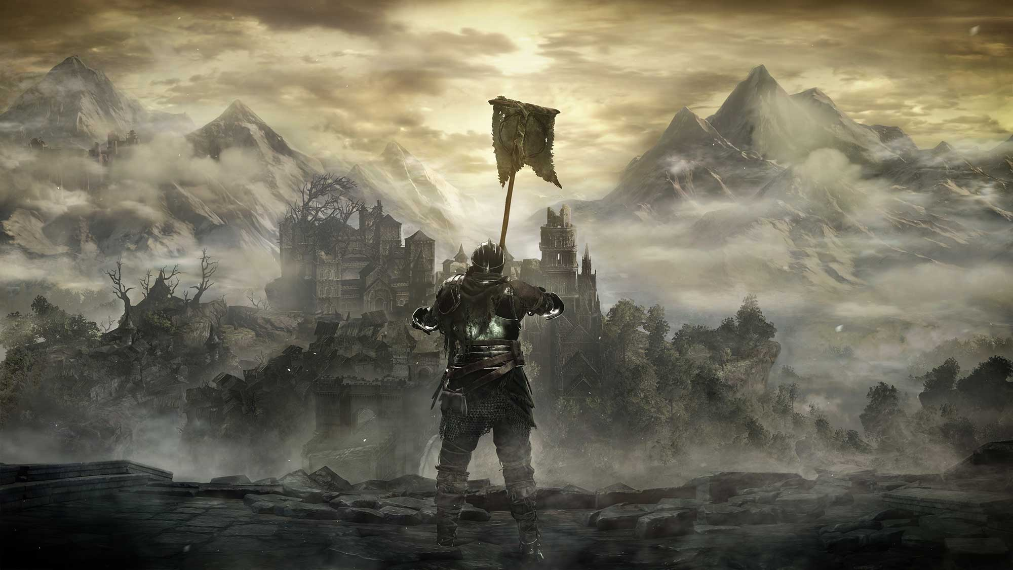 A knight lifts a banner toward the dawn in Dark Souls 3.