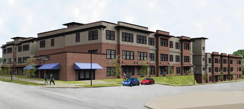 A rendering of a tan and brick senior affordable housing development in Atlanta.