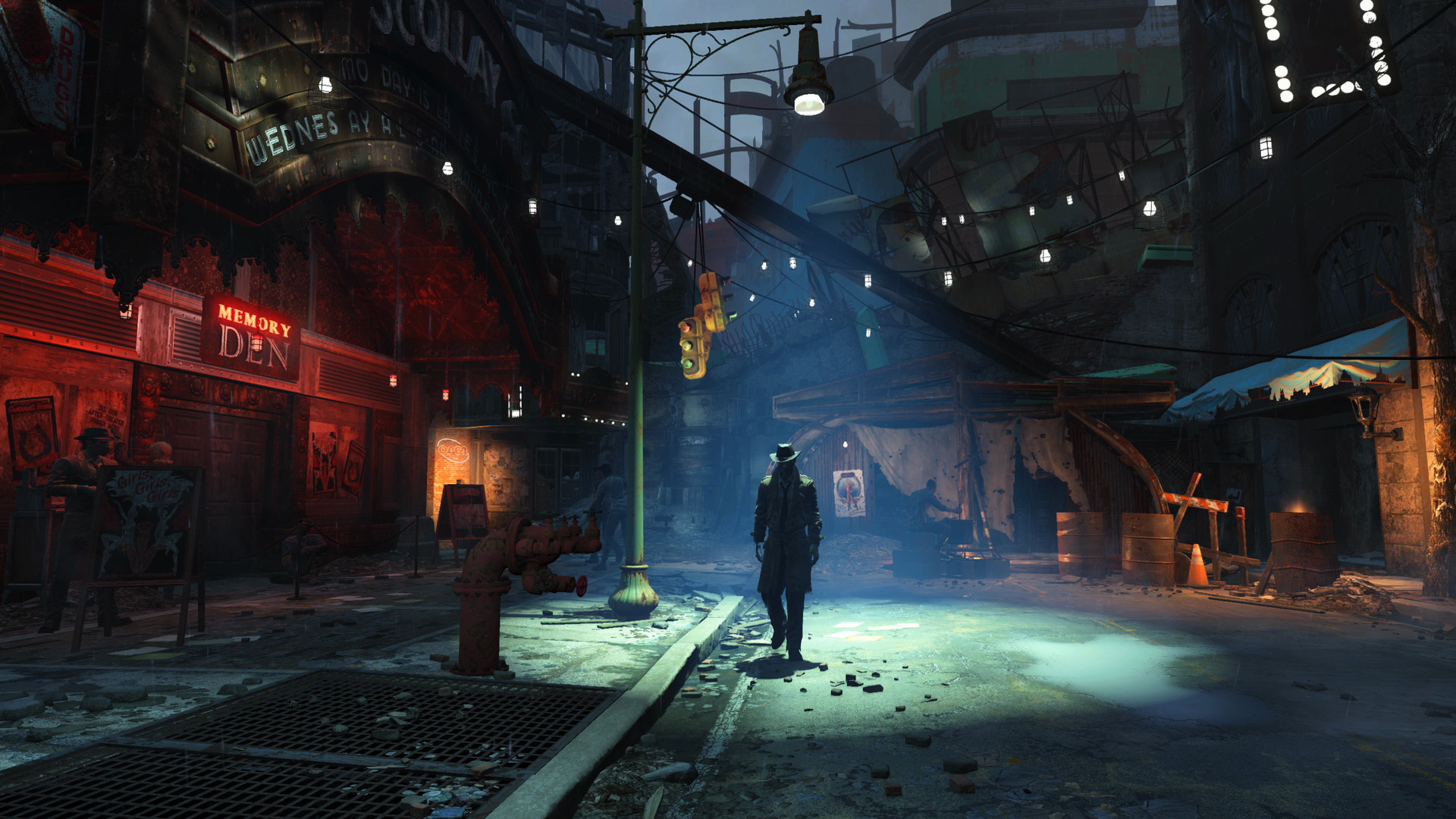 Fallout 4 - a shot of Nick Valentine in Diamond City