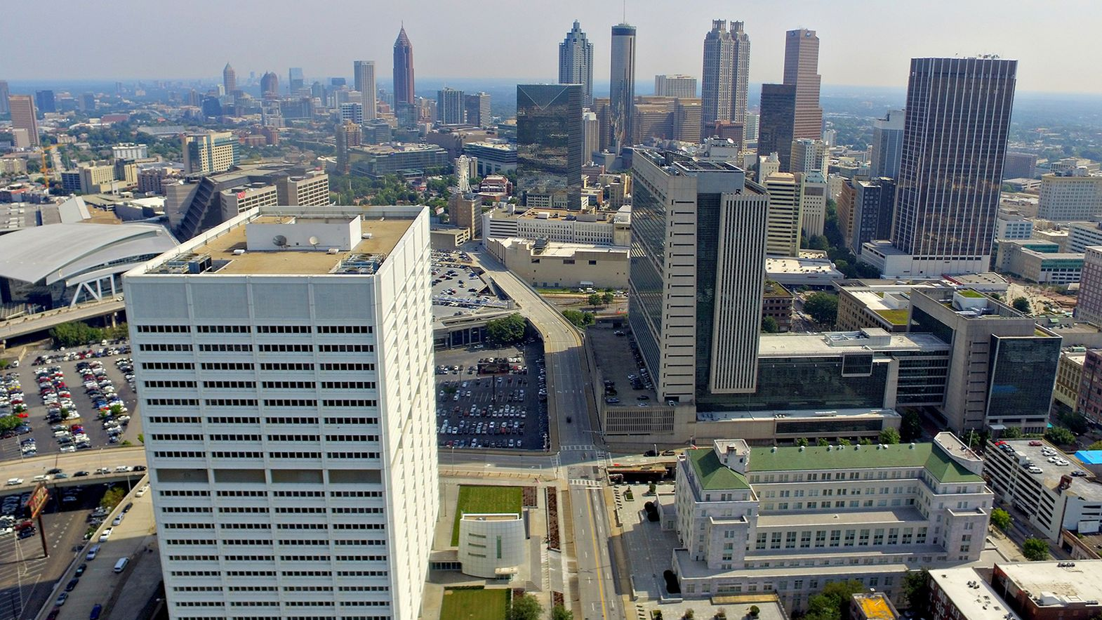 A broad drone view of Atlanta's skyline.