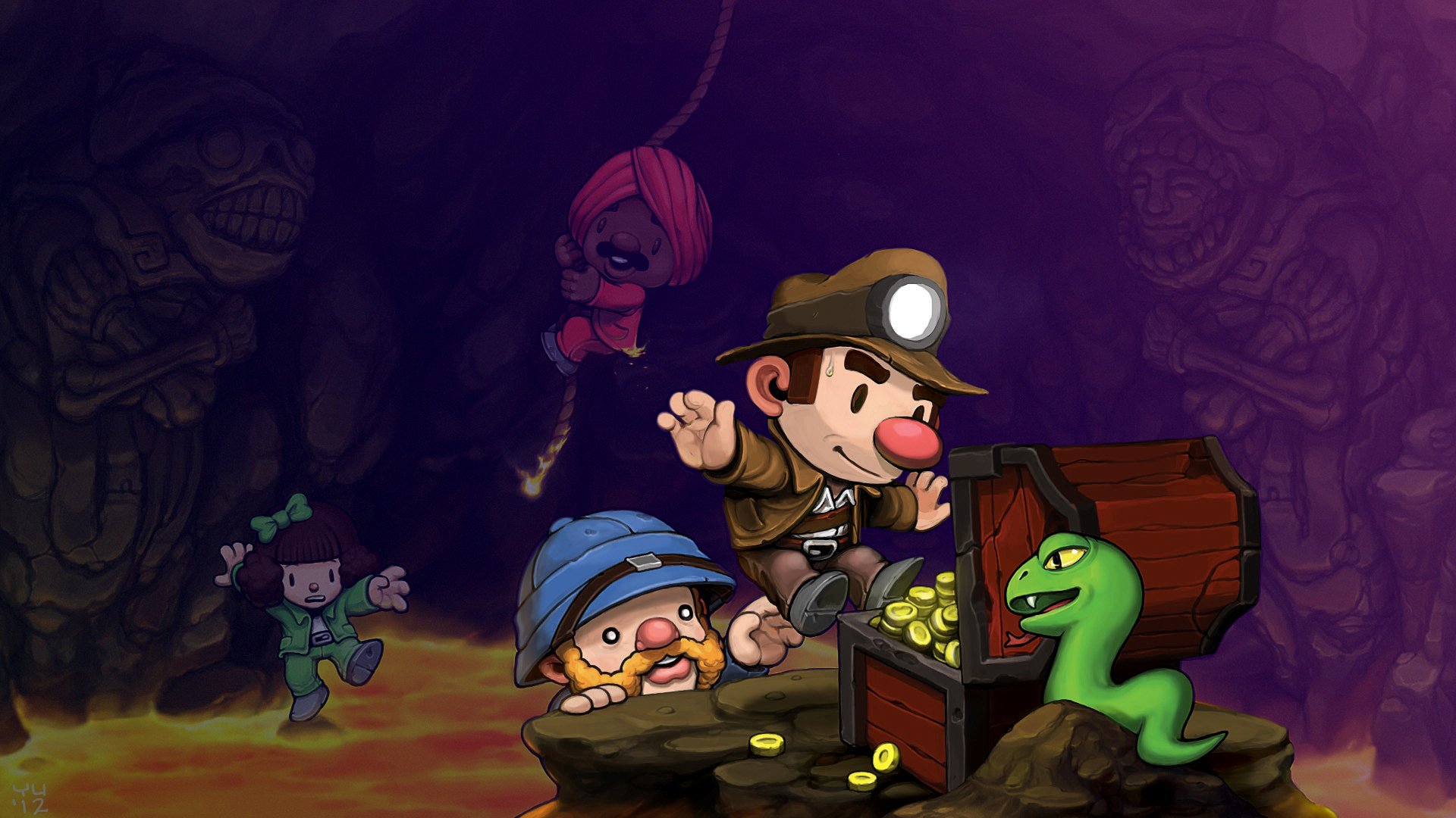 artwork from Spelunky with purple overlay