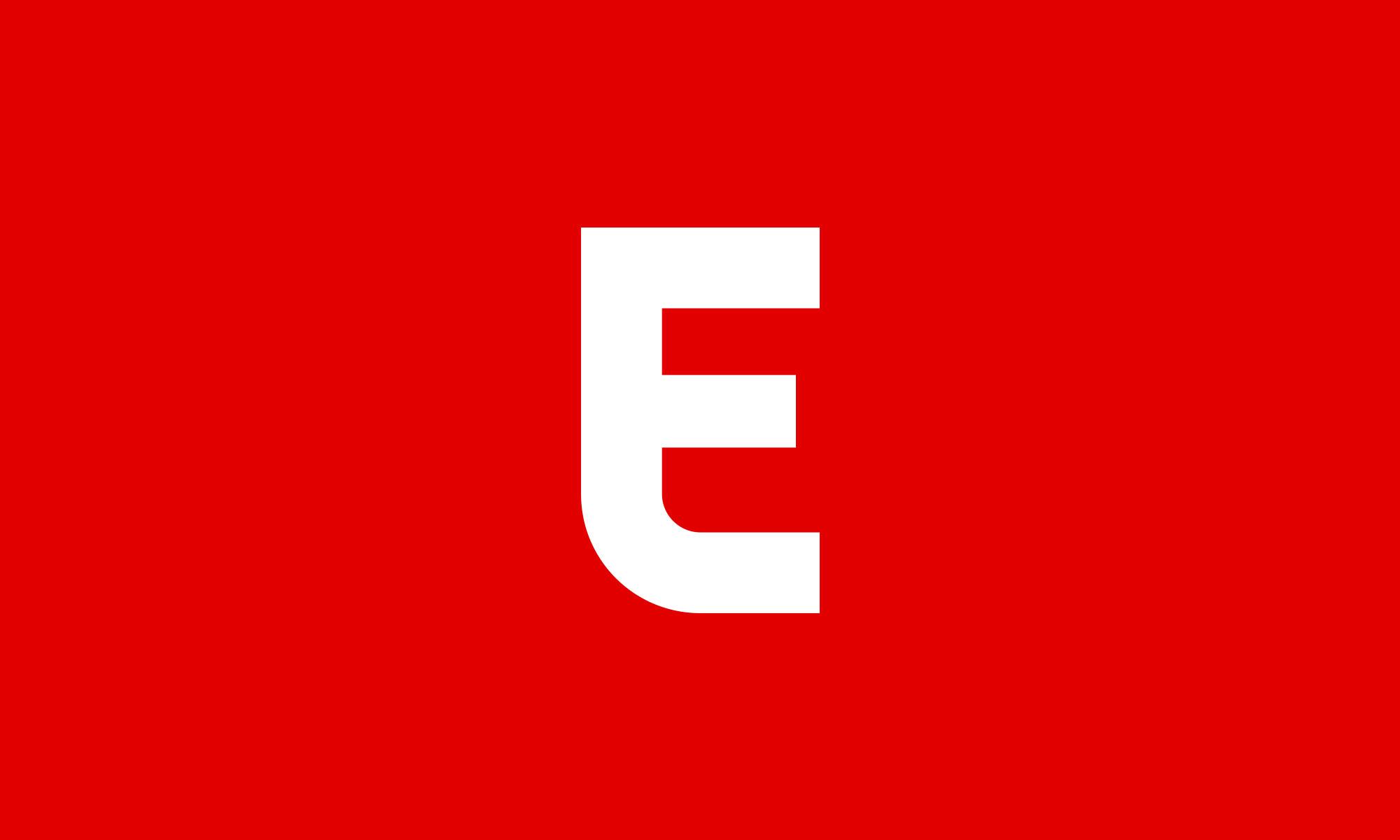 "White ""E"" of Eater logo on red background"