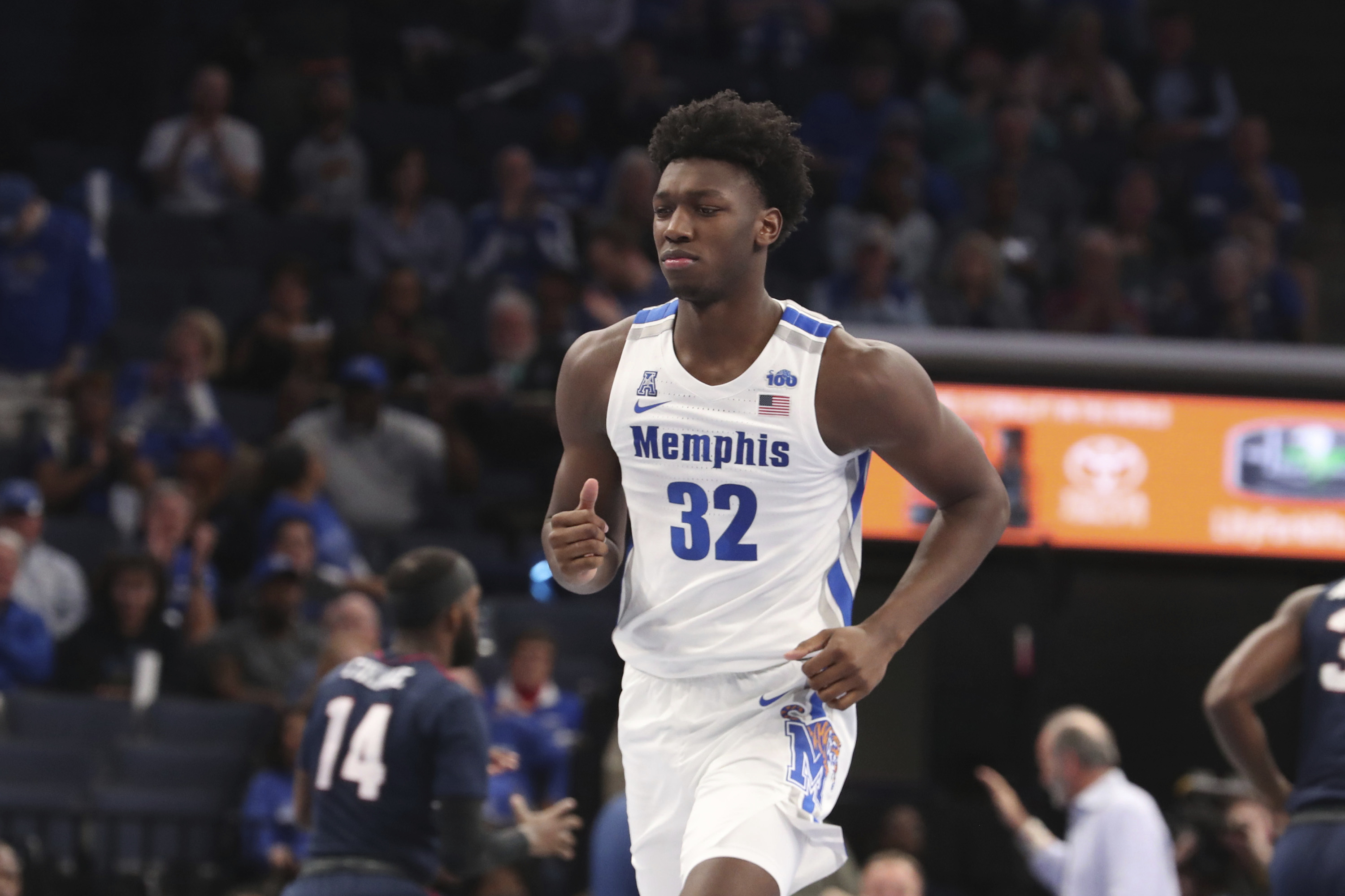James Wiseman in the first half of an NCAA college basketball game Wednesday, Nov. 6, 2019, in Memphis, Tenn.