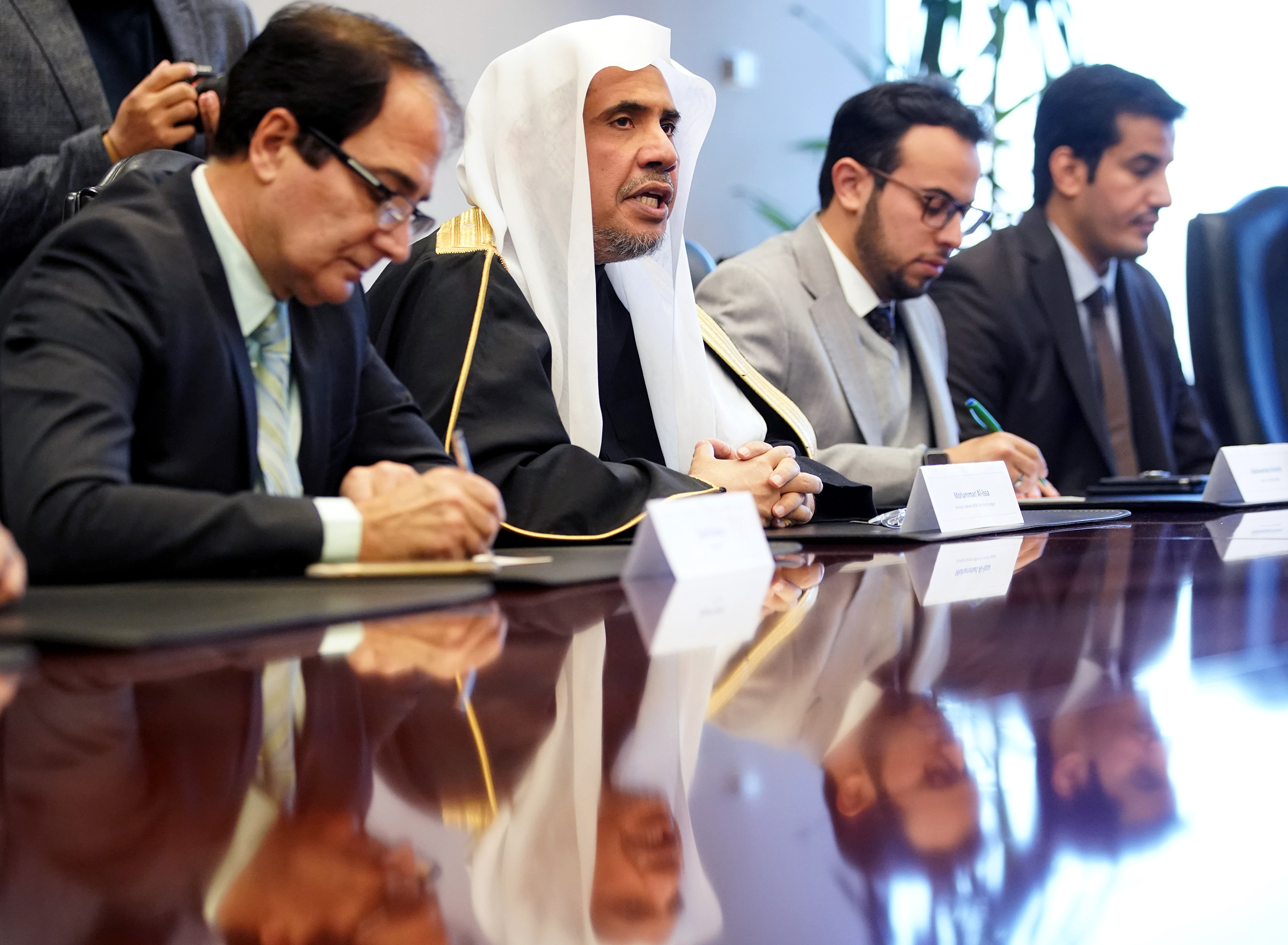Dr. Mohammad Al-Issa, secretary-general of the World Muslim League, talks in a Deseret News editorial board meeting at the Triad Center in Salt Lake City on Monday, Nov. 4, 2019.