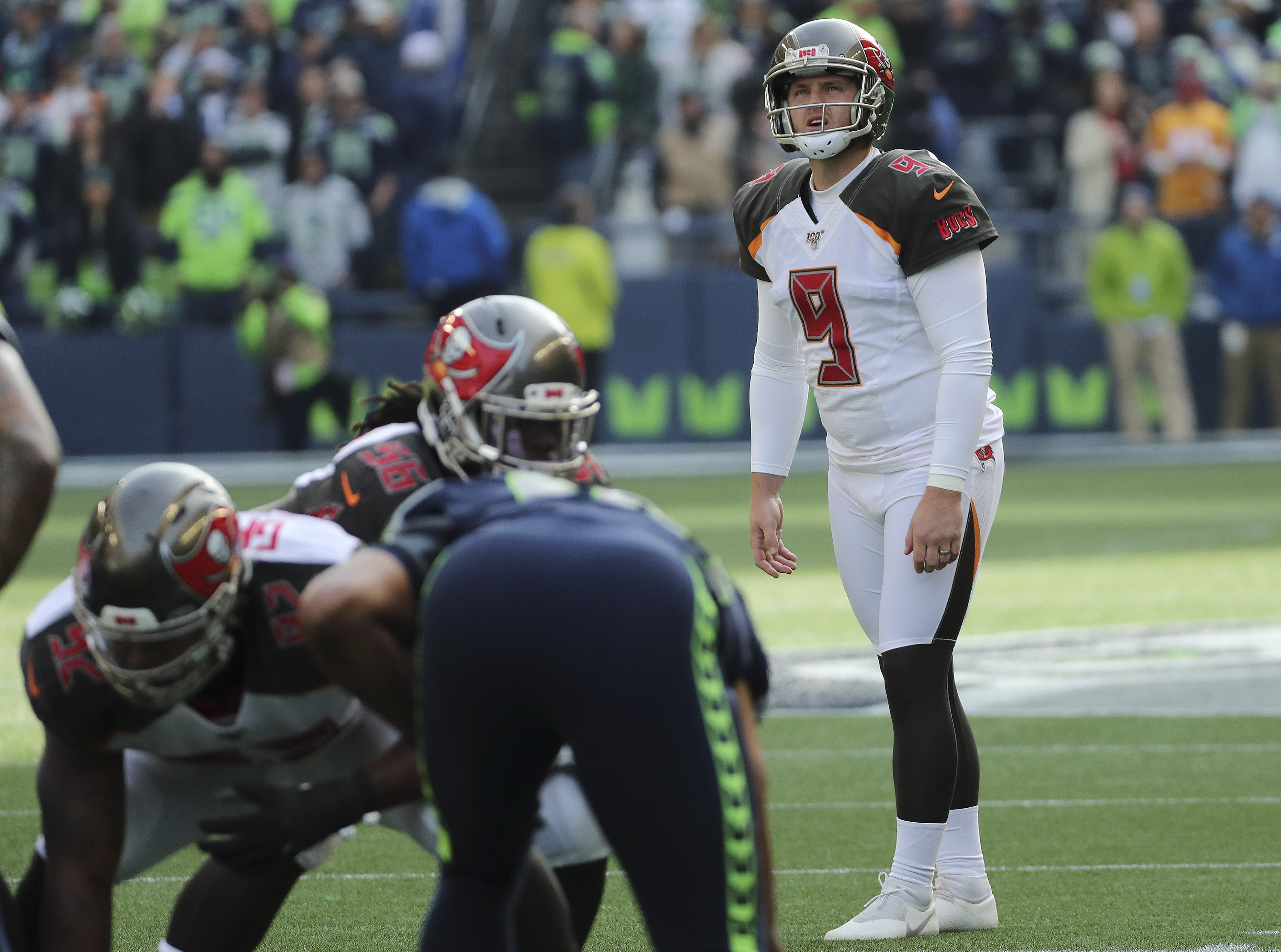 Former Utah Ute and Tampa Bay Buccaneers kicker Matt Gay (9) prepares to kick a field goal against the Seattle Seahawks during an NFL football game in Seattle on Sunday, Nov. 3, 2019.