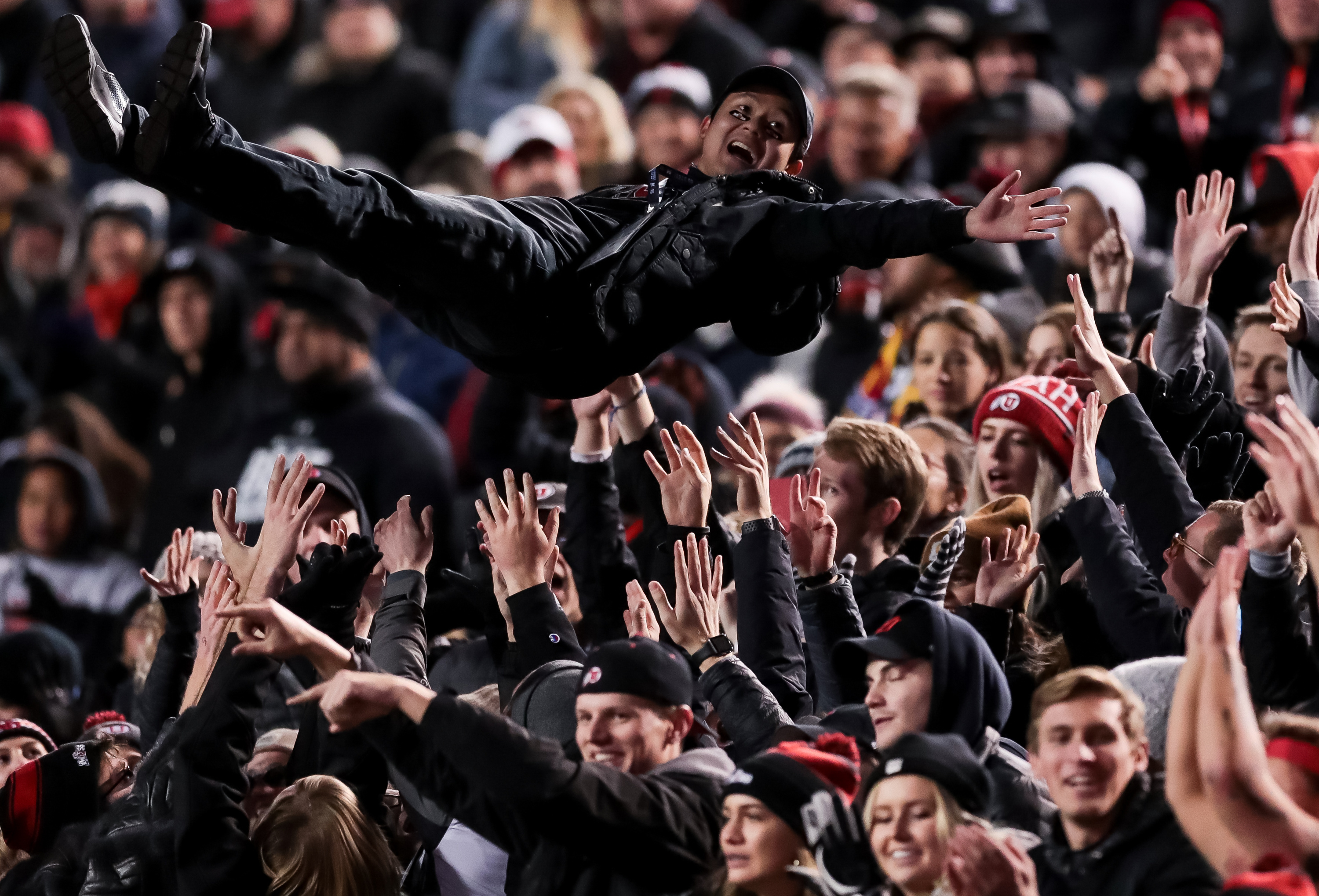 Utah fans celebrate after a touchdown during the game against the California Golden Bears at Rice-Eccles Stadium in Salt Lake City on Saturday, Oct. 26, 2019.