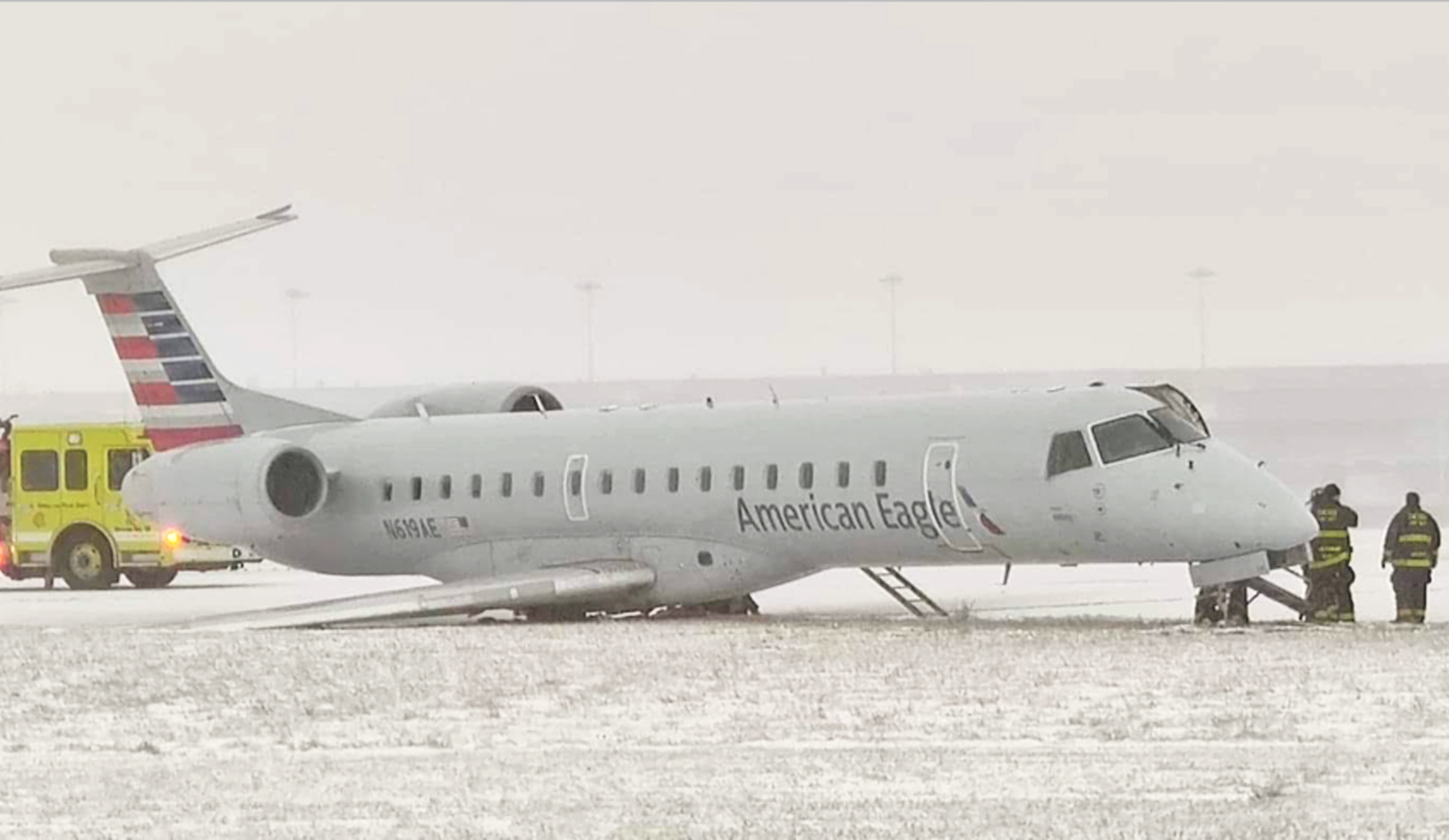 An American Eagle flight slipped off the runway after landing at O'Hare Airport Monday morning.