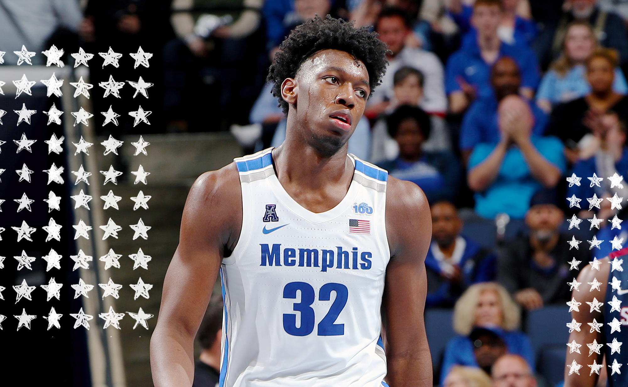 James Wiseman looks frustrated on the court for Memphis.