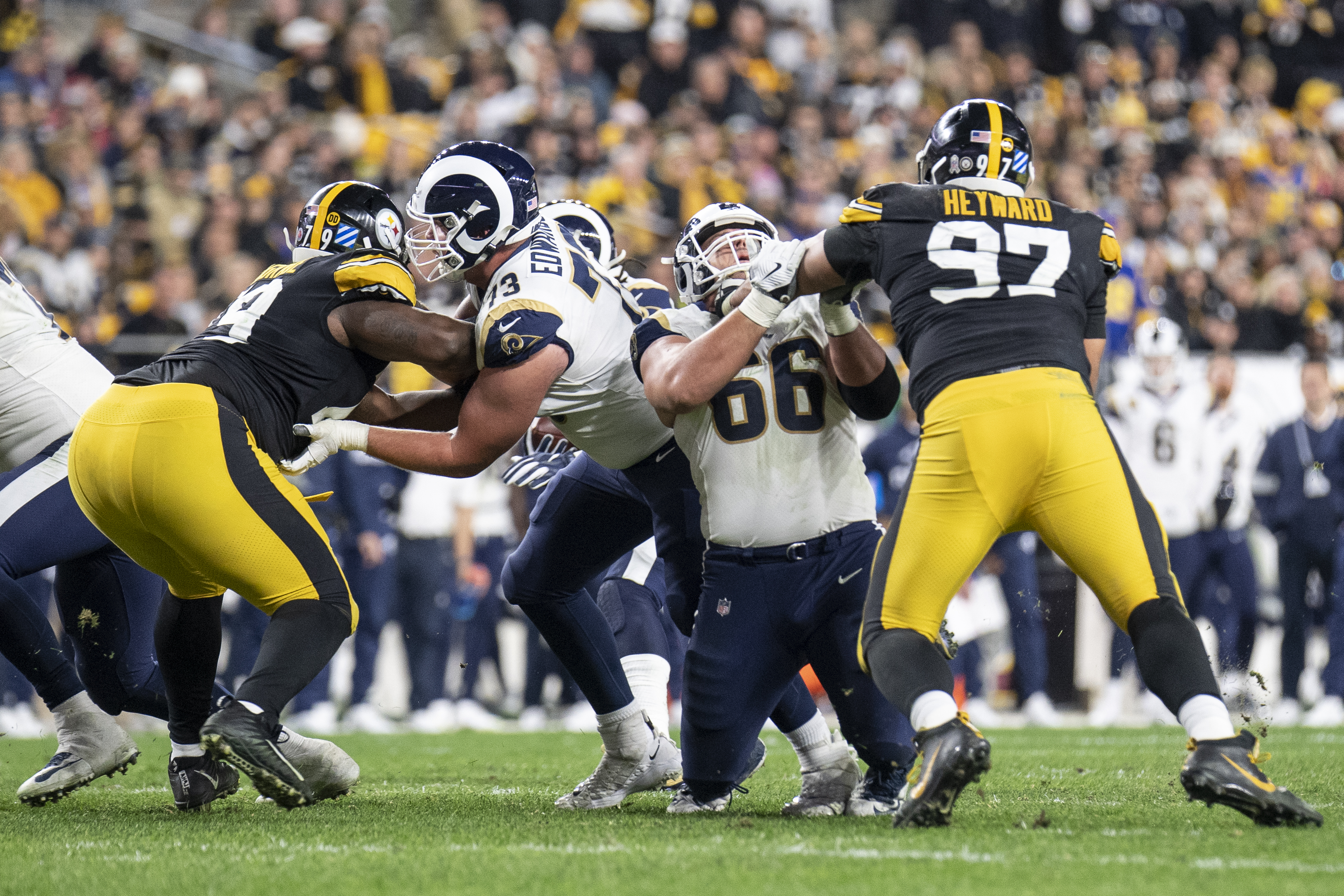 The Los Angeles Rams' offensive line collapses against the Pittsburgh Steelers in Week 10, Nov. 10, 2019.