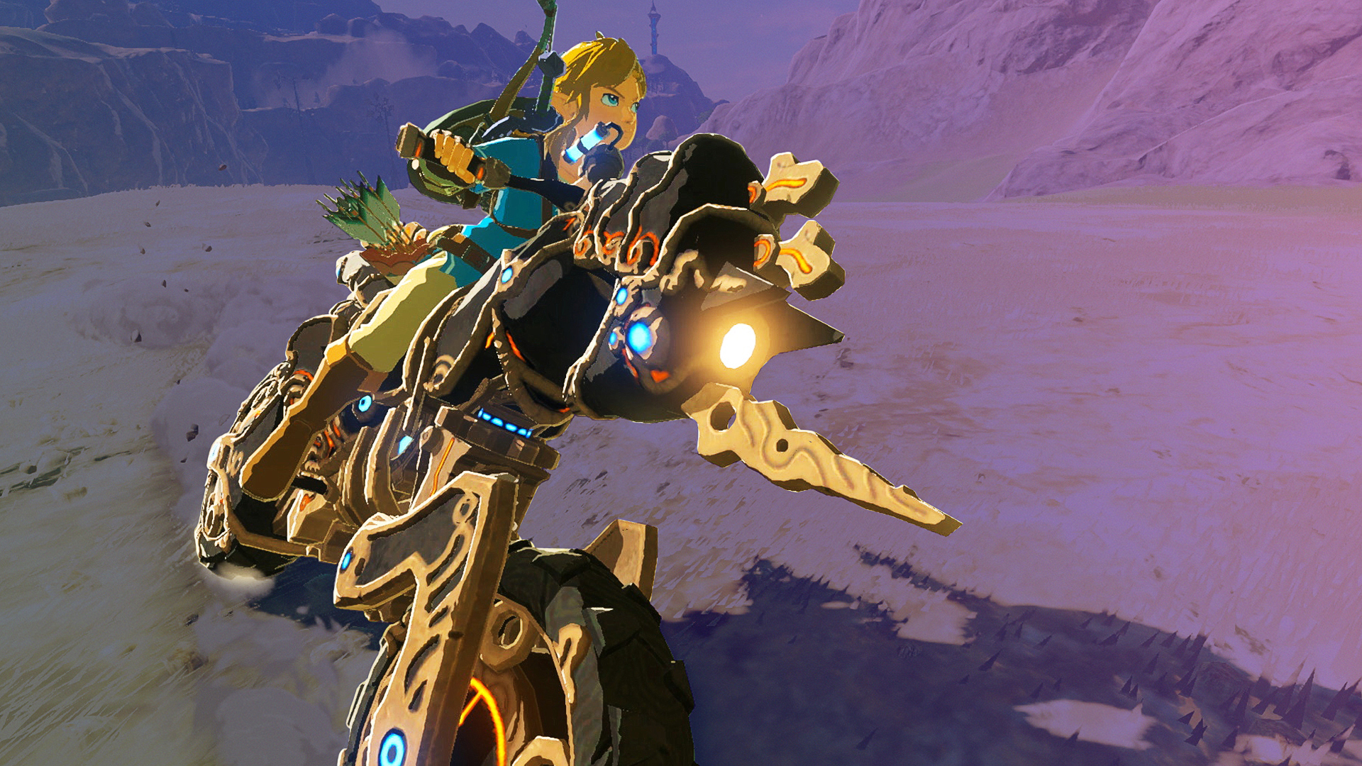 Link riding his motorbike in the Nintendo Game The Legend of Zelda: Breath of the Wild