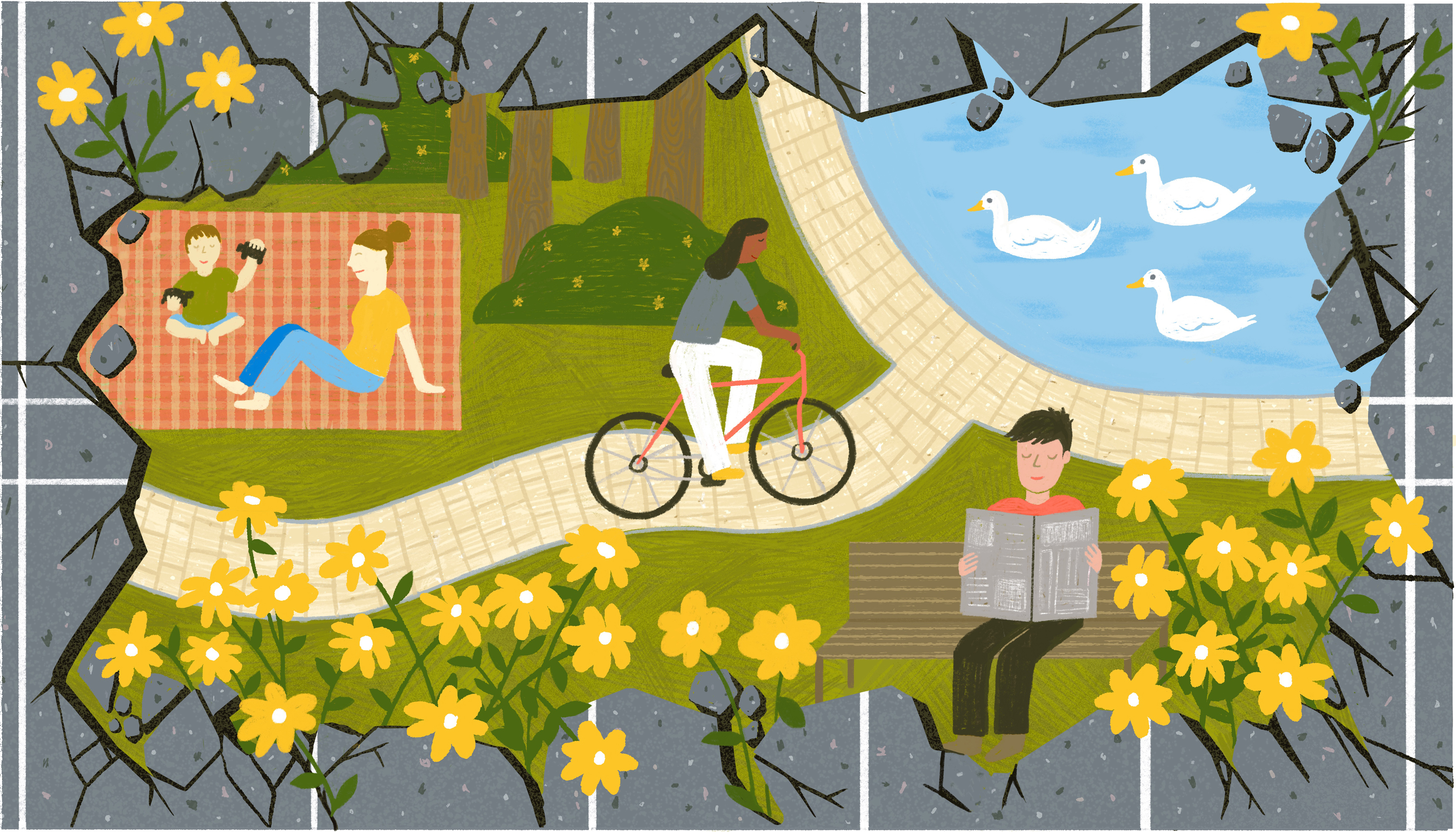 A woman rides her bike in a park where there once was a parking lot. There's also a woman and toddler sitting on a checkered picnic blanket and a man peacefully reading a newspaper on a bench. Illustration.