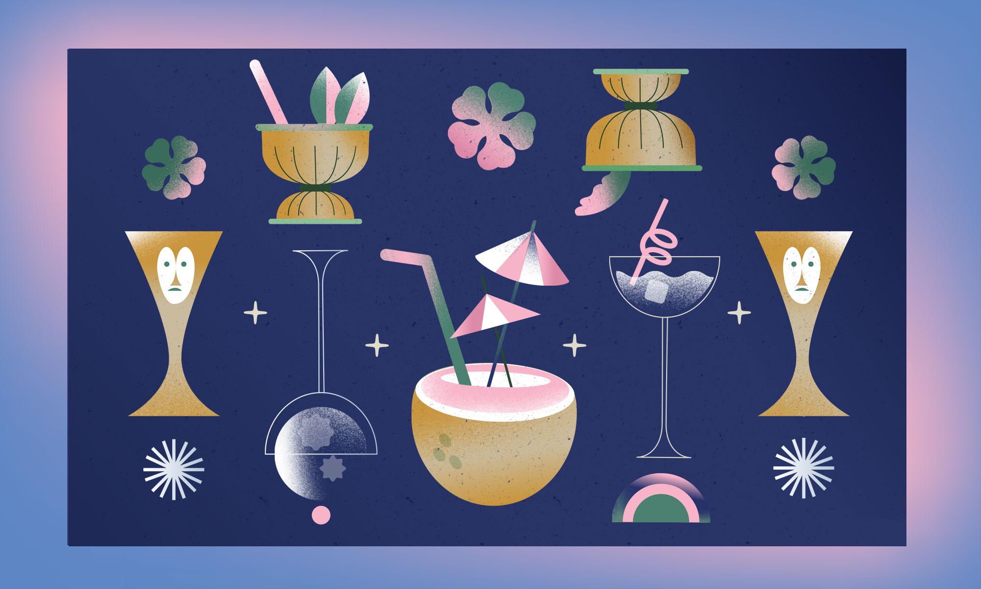 Tiki drinkware in various shapes.