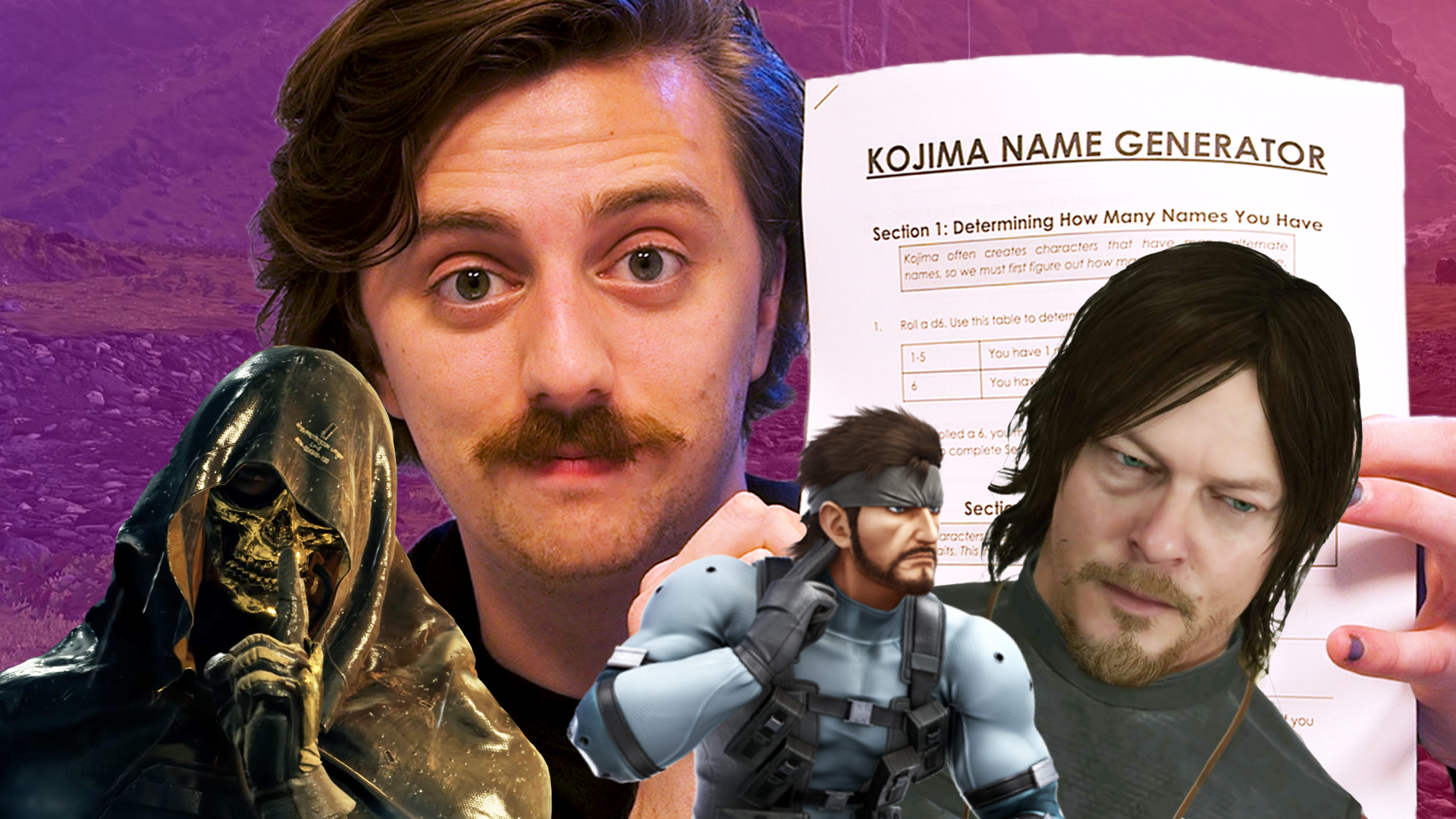 """A thumbnail image of Brian David Gilbert holding a paper that says """"Kojima Name Generator."""" Higgs, Solid Snake, and Sam Porter Bridges are in the foreground."""