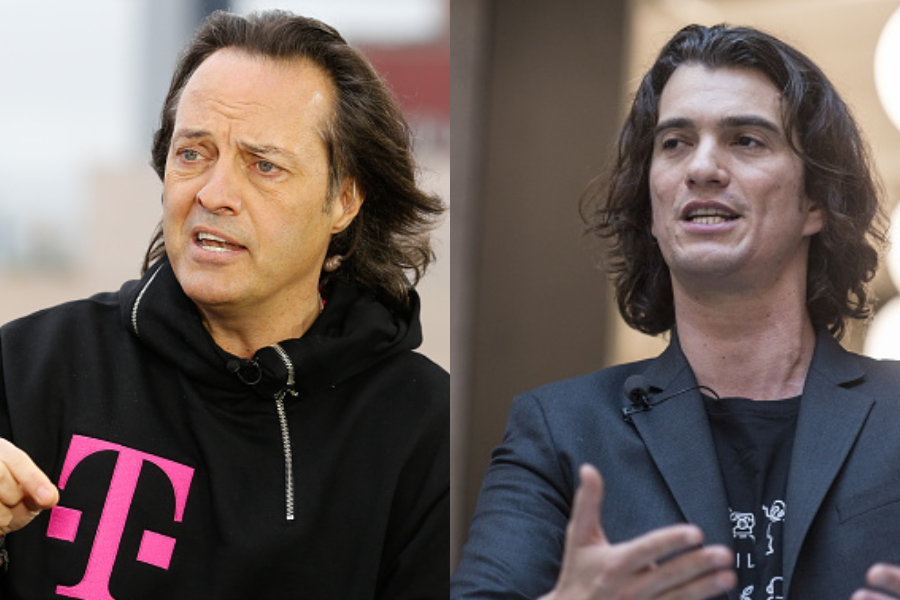 T-Mobile CEO John Legere and ex-WeWork CEO Adam Neumann.