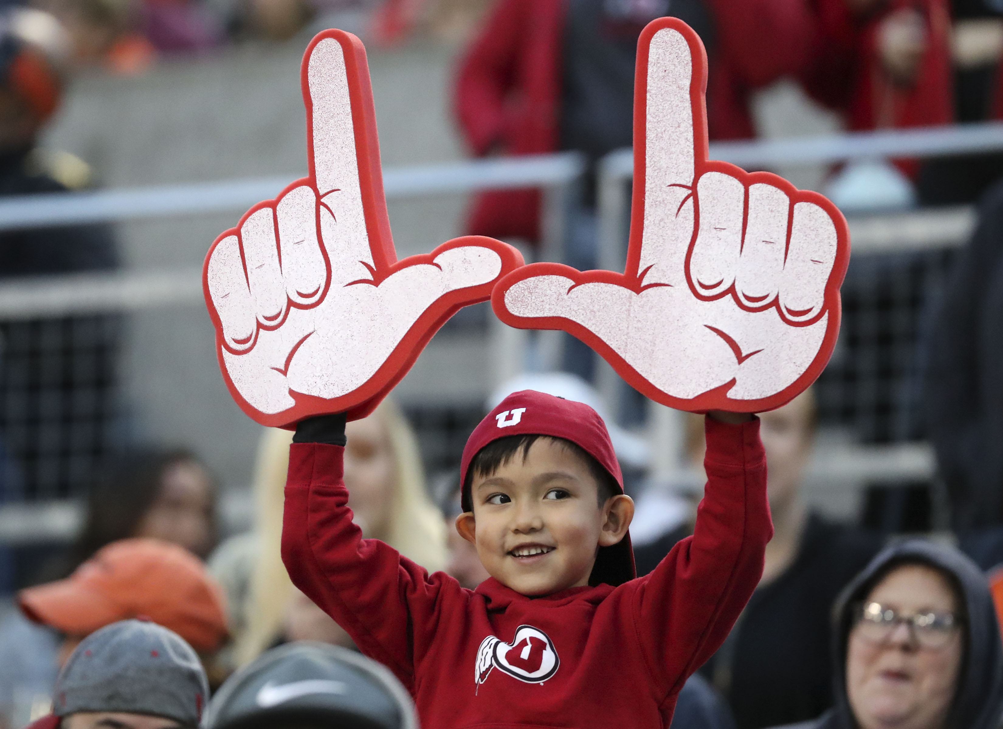 Rain Phinney supports the Utah Utes as they play the Oregon State Beavers in a football game at Reser Stadium in Corvallis, Ore., on Saturday, Oct. 12, 2019. Utah won 52-7.