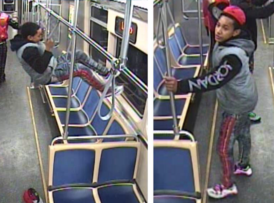 Police are looking for people suspected of kicking the windows of a CTA Pink Line train car.