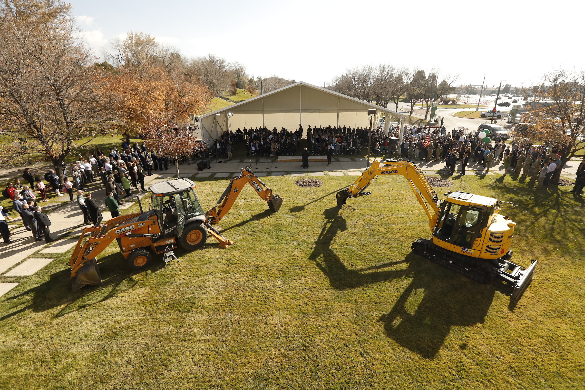Backhoe and earthmover ready to turn ground forthe new Scott C. Keller Building at Utah Valley University. Ground was broken Monday, Nov. 11, 2019 for the $75 million, 180,000-square-foot building, which will be the new home of the Woodbury School of Business.