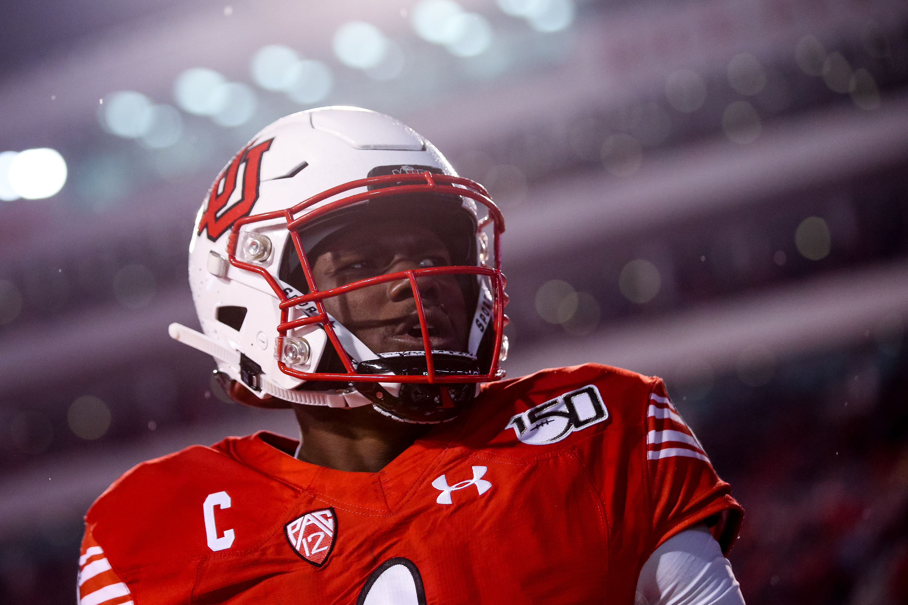 Utah Utes quarterback Tyler Huntley (1) celebrates after running the ball 15 yards for a touchdown, putting the Utes up 21-13 over the Washington State Cougars after the PAT, at Rice-Eccles Stadium in Salt Lake City on Saturday, Sept. 28, 2019.