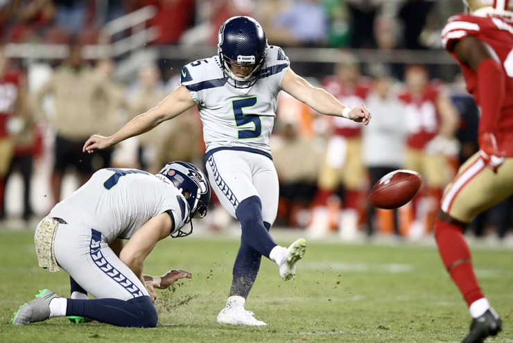 Seahawks kicker Jason Myers makes a 42-yard field goal as time expires Monday night in in Santa Clara, California.