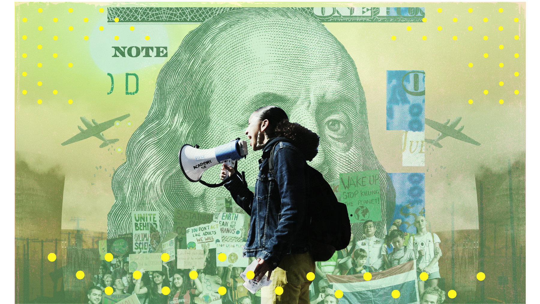 Photo illustration of a person speaking into a loudspeaker superimposed on a $100 bill.