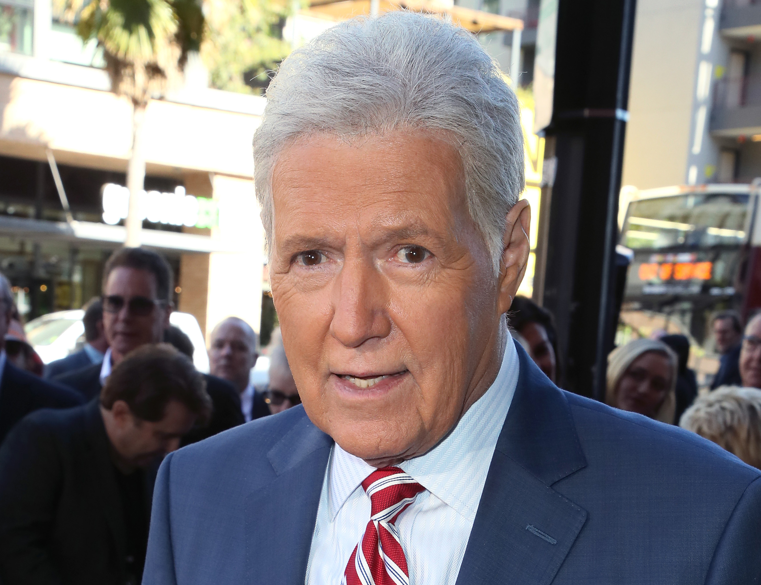 Alex Trebek attends a ceremony for Harry Friedman who was being honored with a Star on the Hollywood Walk of Fame earlier this month in Hollywood, California.
