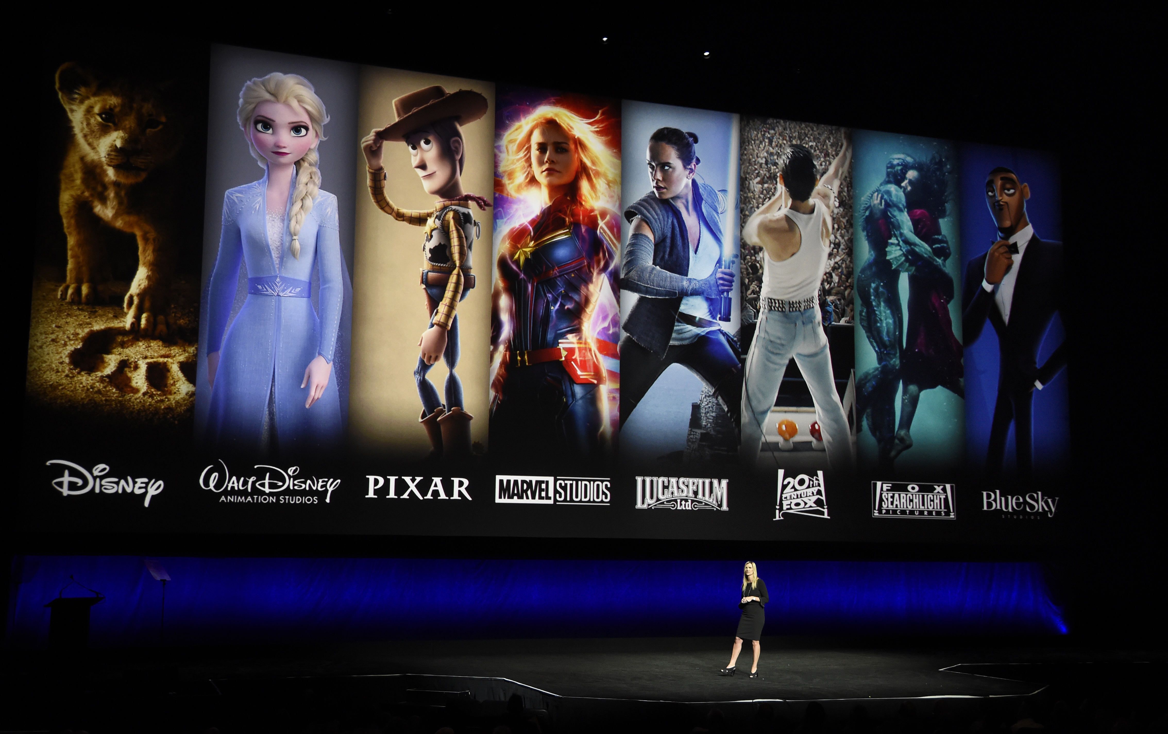 FILE - In this April 3, 2019, file photo characters from Disney and Fox movies are displayed.