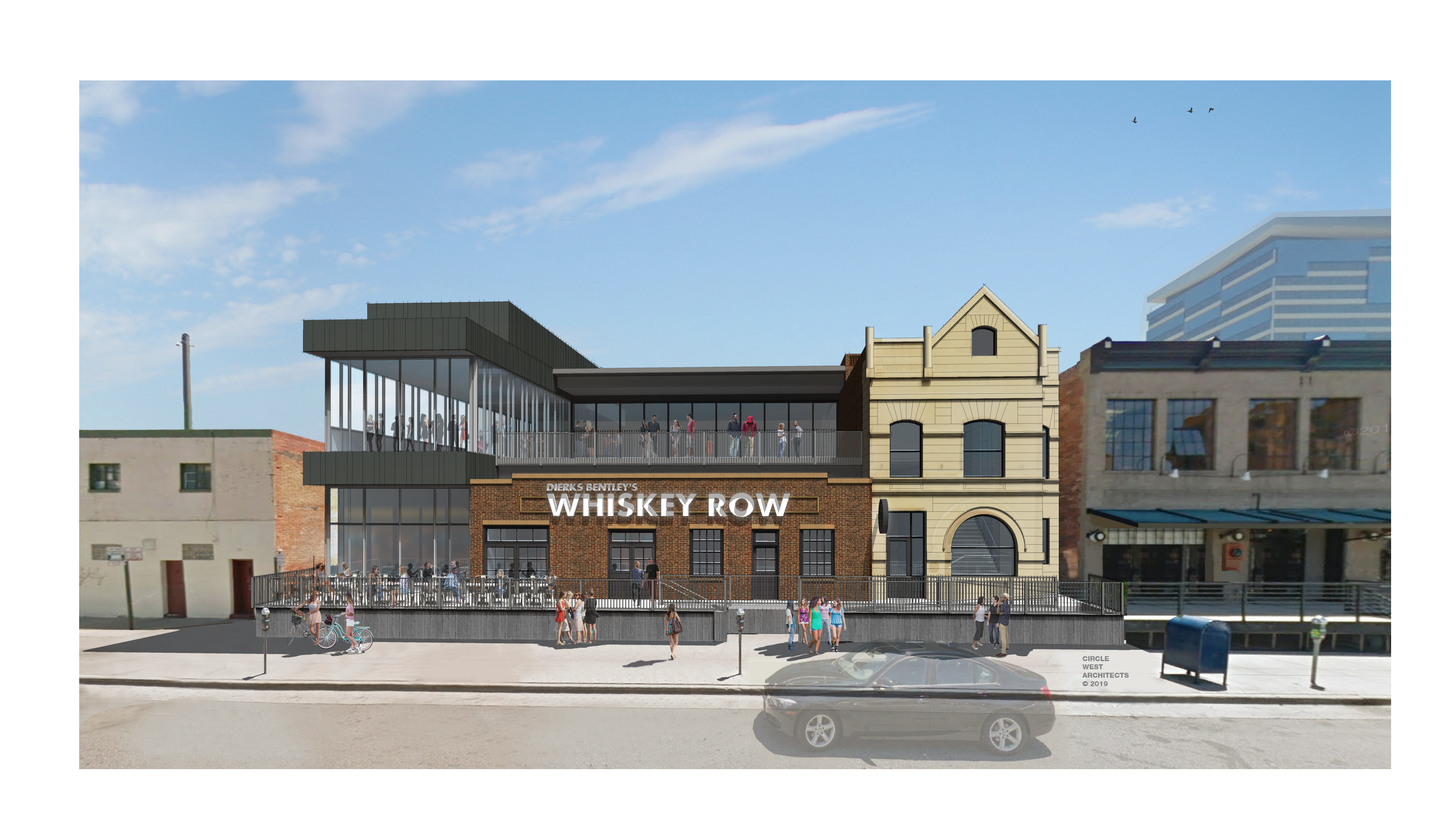 A rendering of the Dierks Bentley's Whiskey Row planned for Market Street showing the two-story bar and restaurant, which includes a glassed-in upper level with a patio