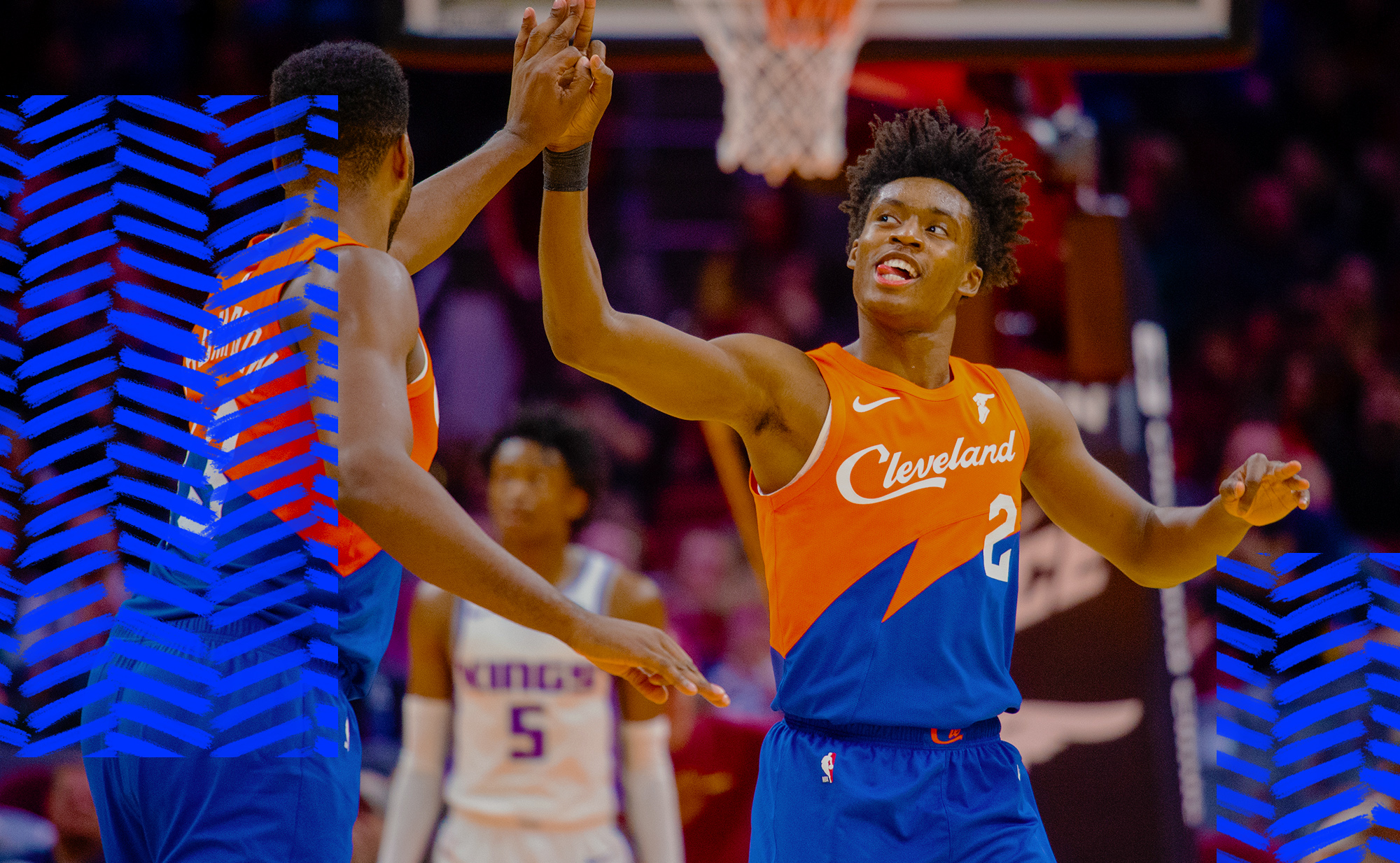 Collin Sexton gets a high-five for the Cavaliers.
