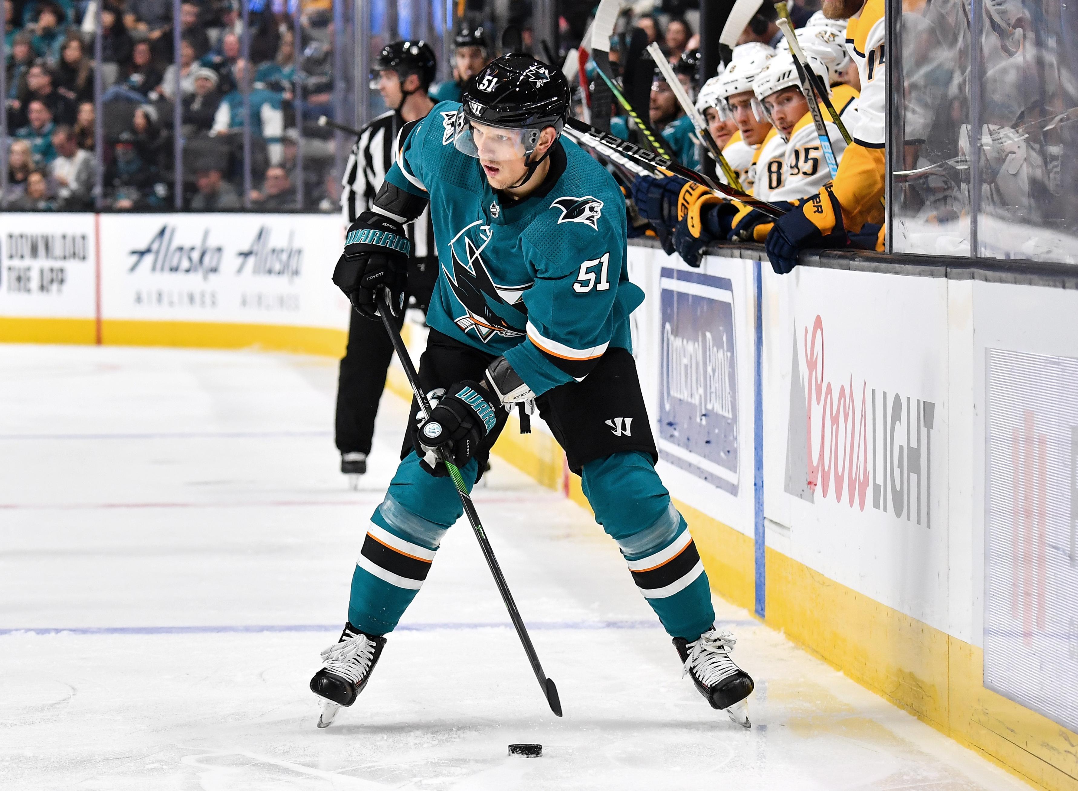 SAN JOSE, CA - NOVEMBER 9: Radim Simek #51 of the San Jose Sharks skates ahead with the puck against the Nashville Predators at SAP Center on November 9, 2019 in San Jose, California.