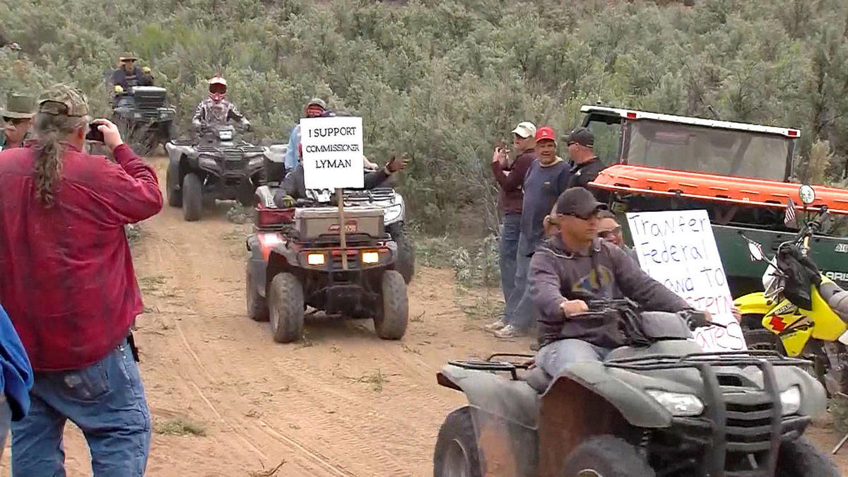 Hundreds of protesters gather to ride on a recreational trail in Recapture Canyon, organized by San Juan County Commissioner Phil Lyman in protest of what he called the agonizingly slow decision-making process of the BLM Saturday, May 10, 2014.