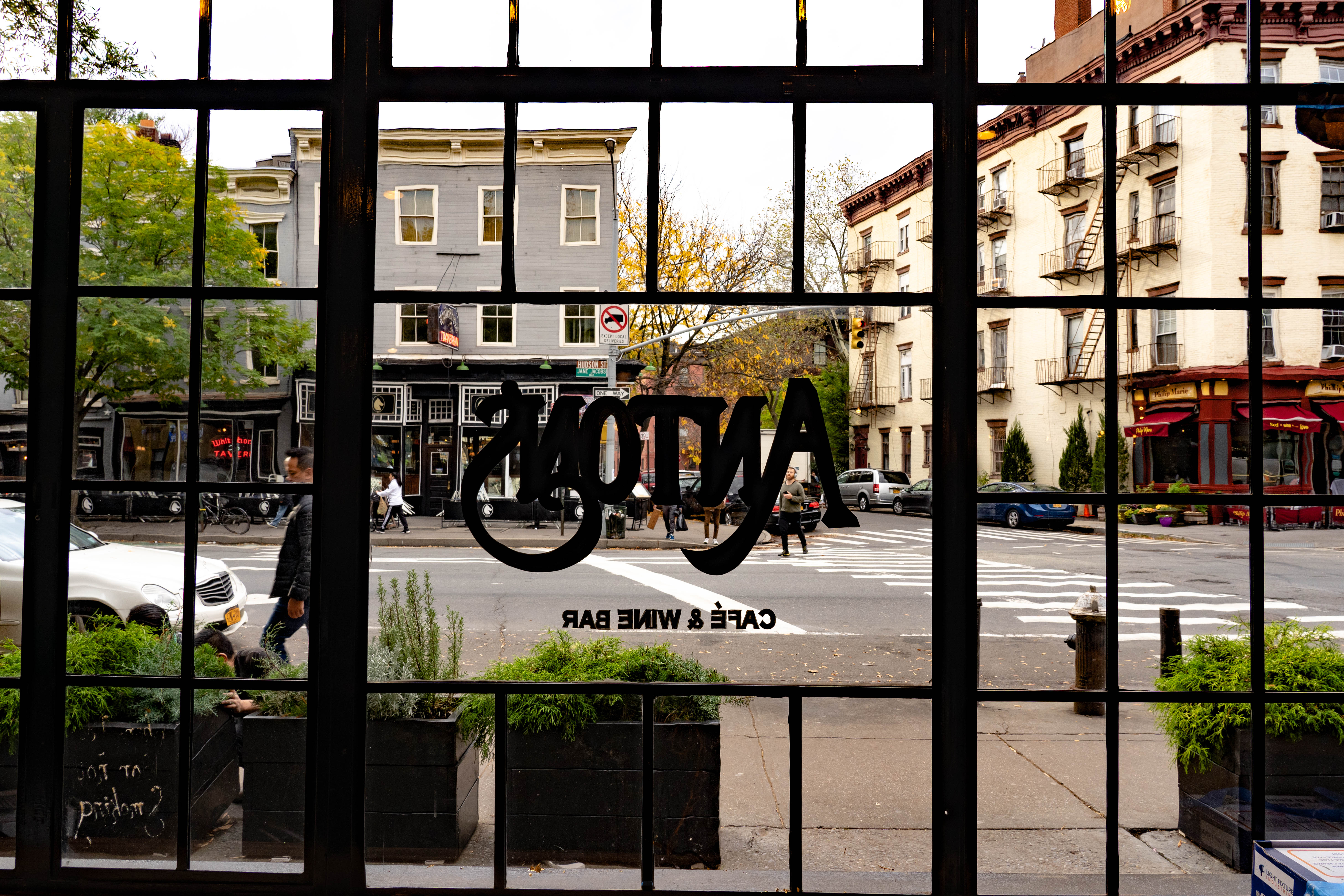 The view from Anton's out onto Hudson Street