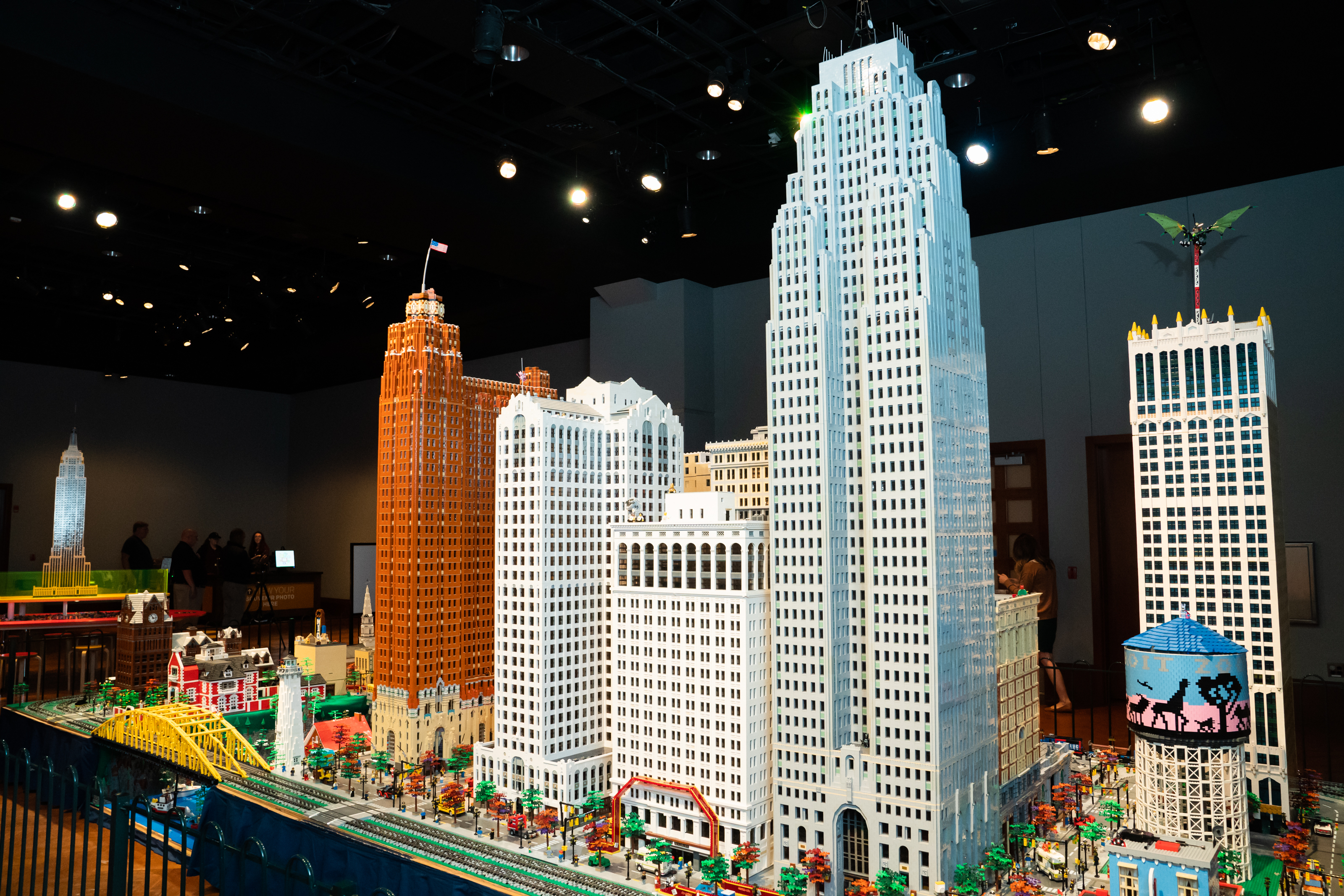 A series of skyscrapers constructed out of Legos. The detailing is impressive.