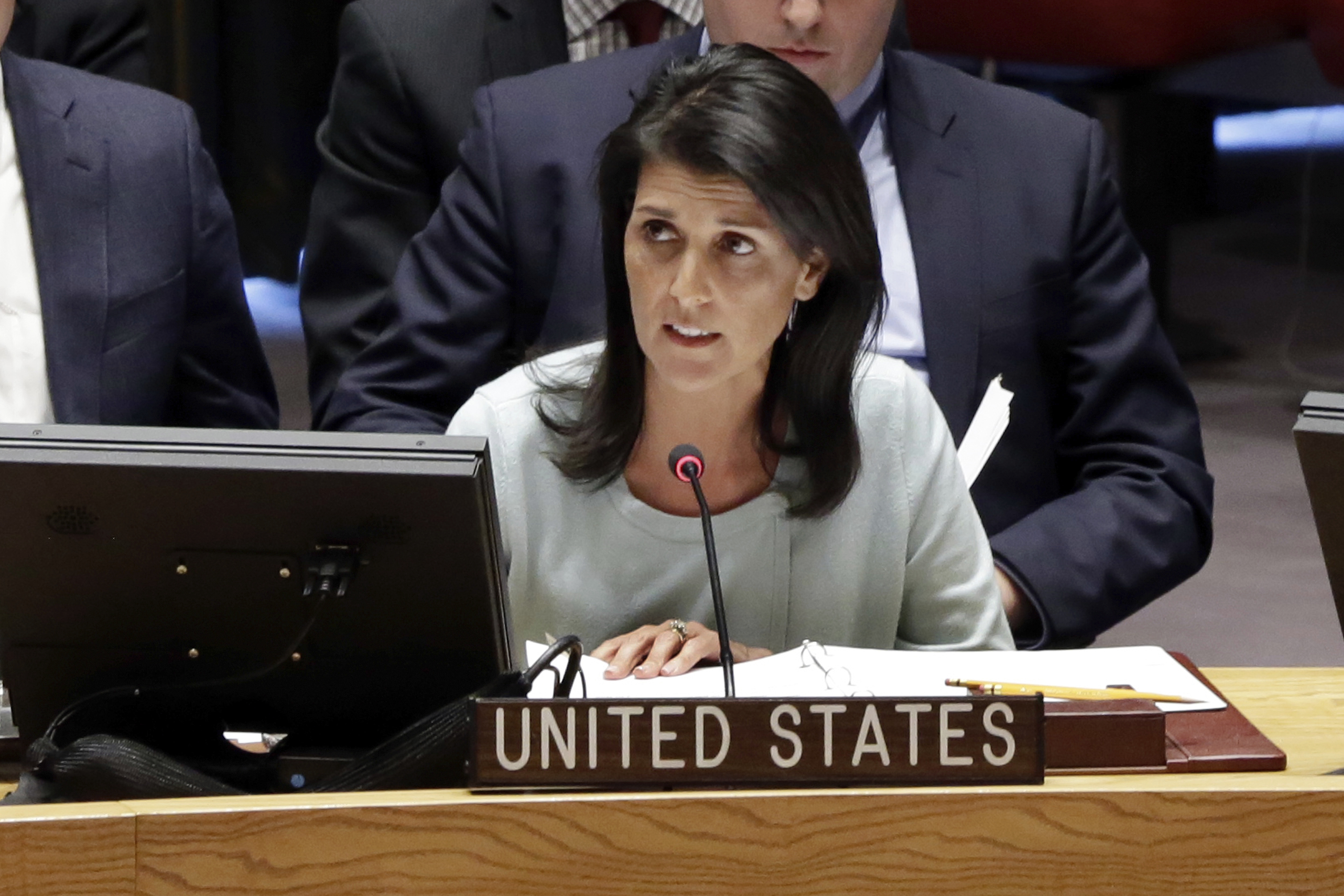 """The United States stands with the people of Ukraine who have suffered for nearly three years under Russian occupation and military interventions,"" U.S. Ambassador to the U.N. Nikki Haley, said Thursday at a meeting of the U.N. Security Council. 