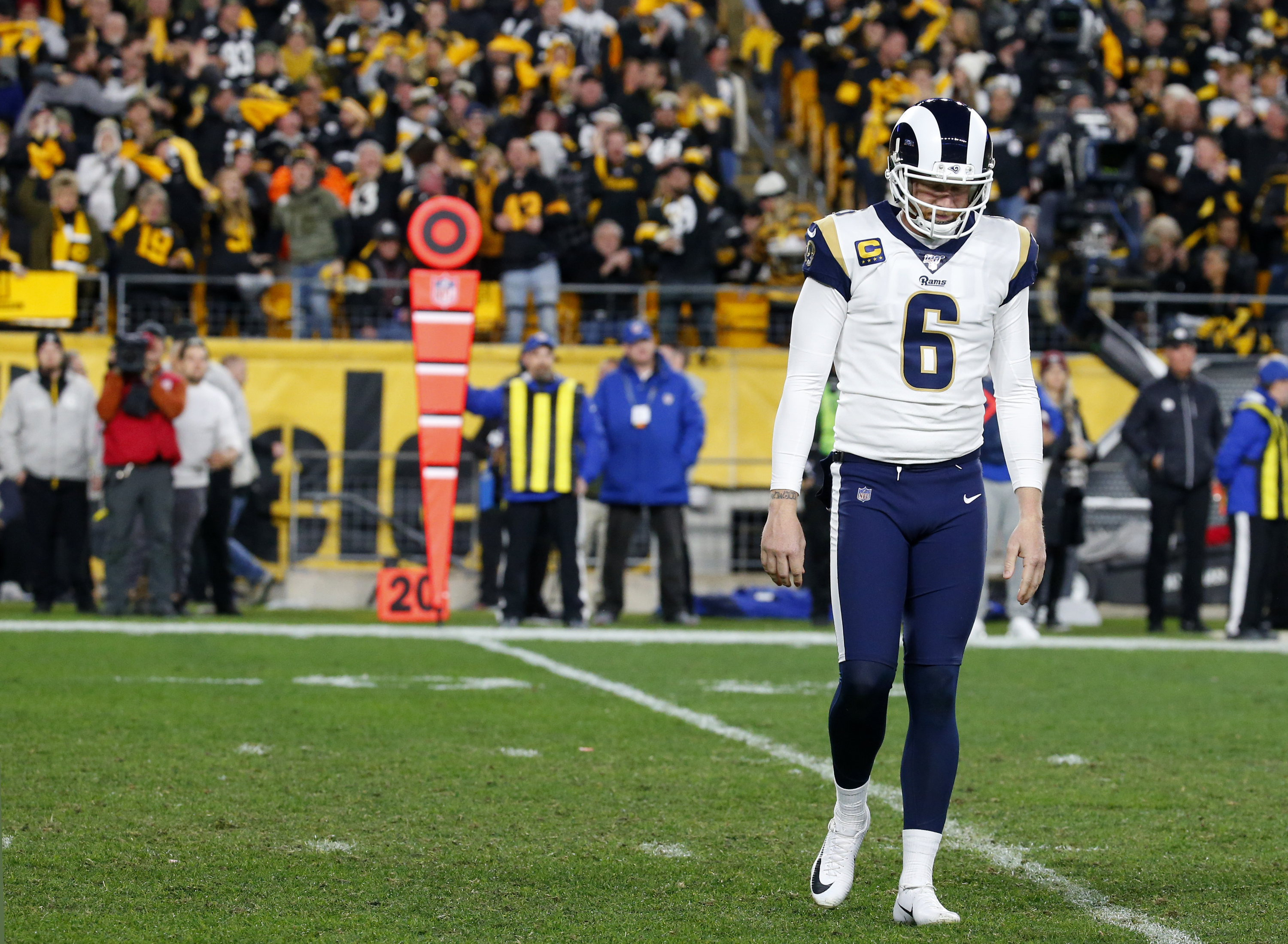 Los Angeles Rams P Johnny Hekker walks off the field at Heinz Field after throwing an interception in the second half against the Pittsburgh Steelers in Week 10, Nov. 10, 2019.