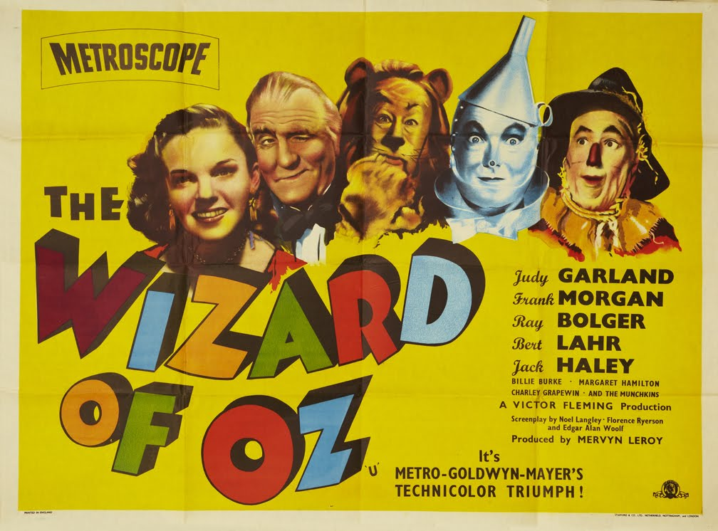 """Vintage movie poster from the film """"The Wizard of Oz."""""""