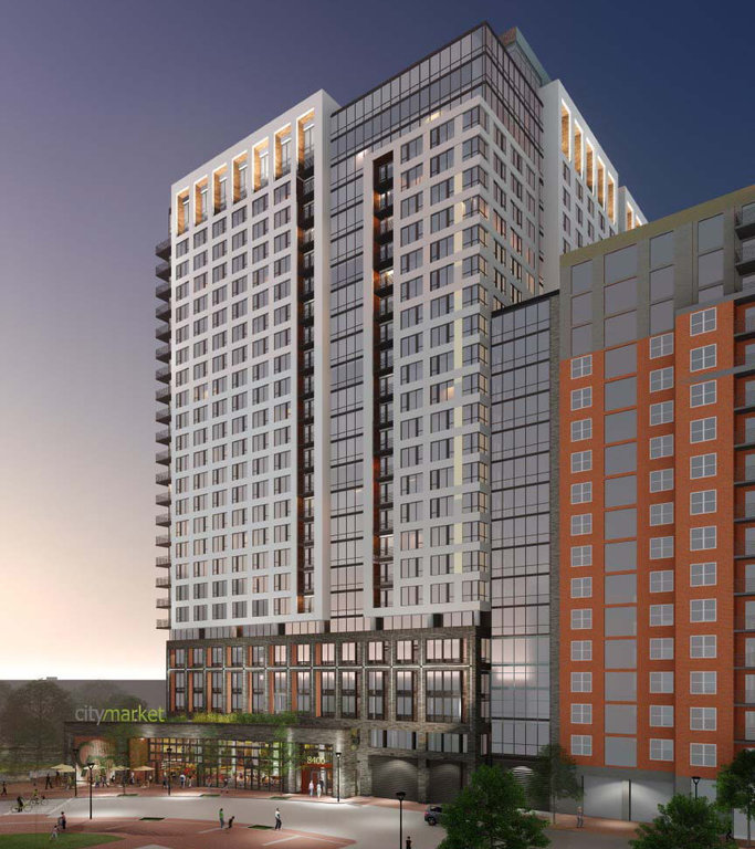 A rendering of the food hall planned to go into a new complex that will be the tallest building in Silver Spring.