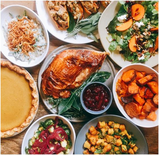 Thanksgiving dinner spread at Akasha