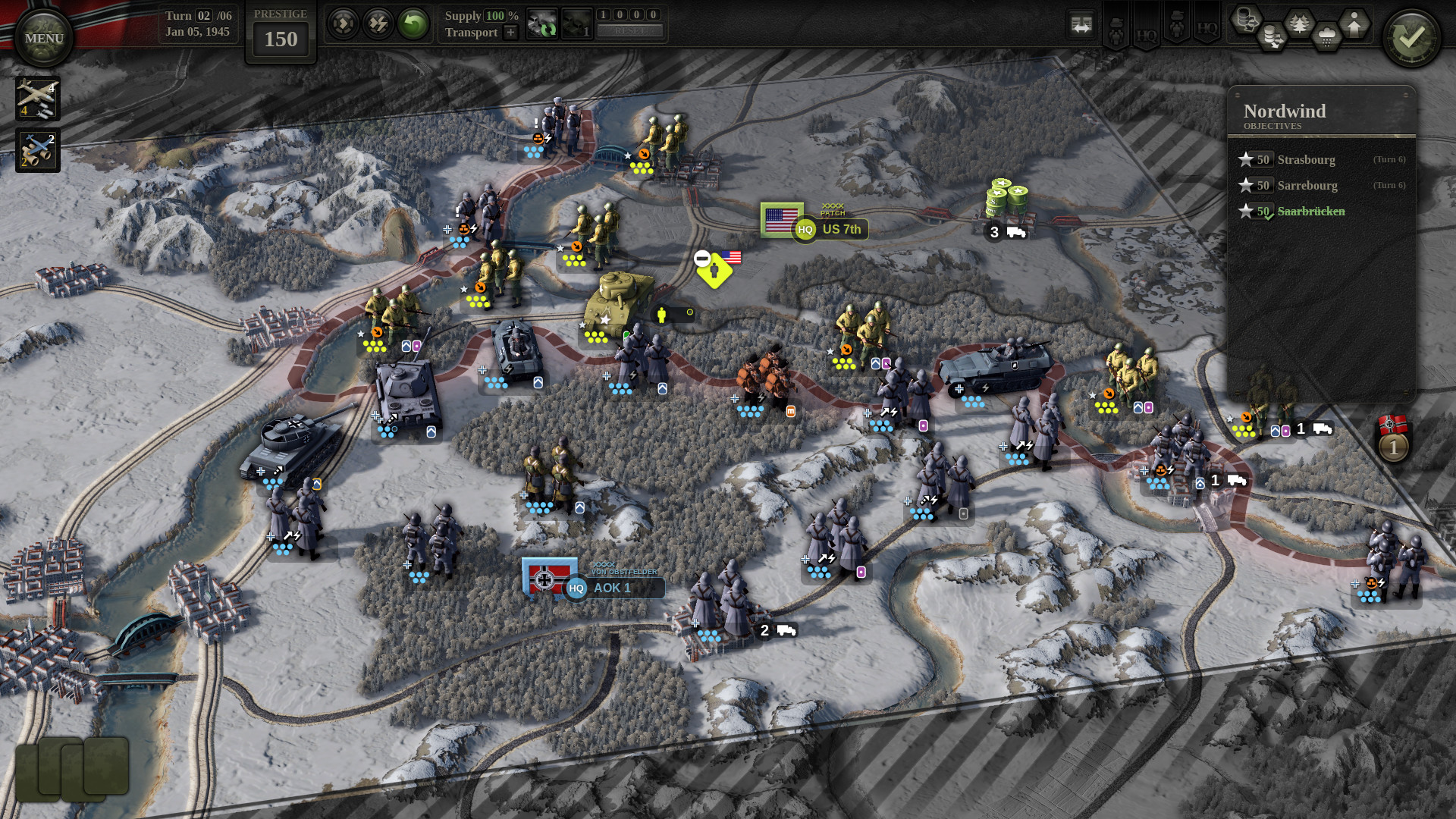 German and American forces duke it out along a snow-covered landscape in Unity of Command 2.