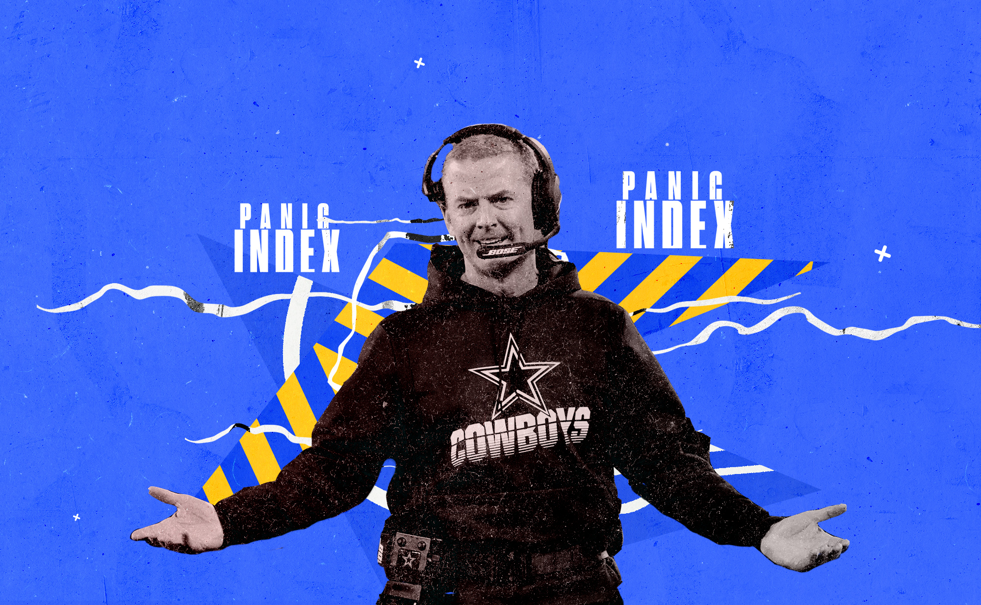 """Cowboys coach Jason Garrett holds his arms out in disbelief, superimposed on a blue and yellow background and the words """"PANIC INDEX"""" in white"""