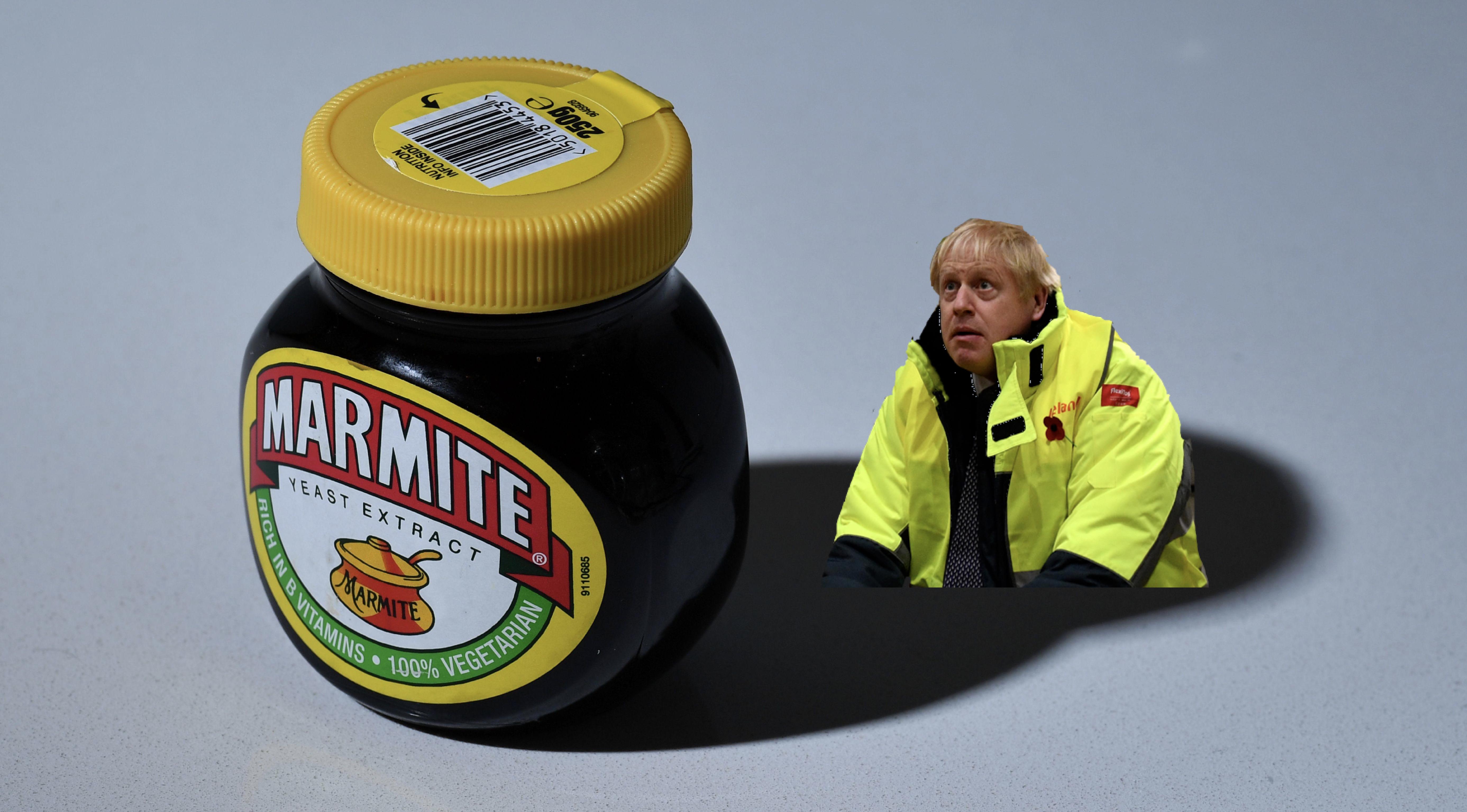 Boris Johnson stares at a jar of Marmite