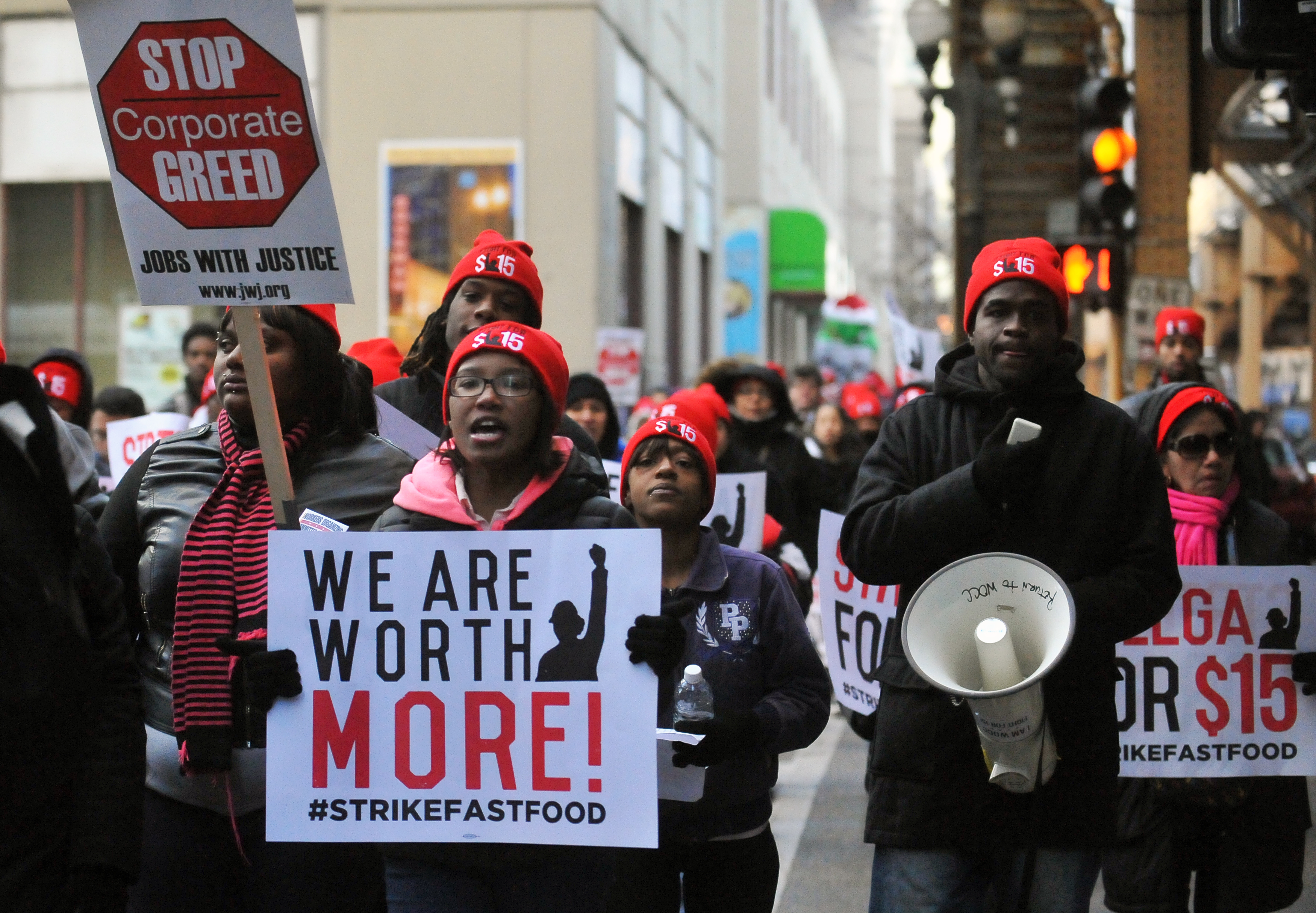 Protesters seeking a higher minimum wage demonstrated in front of a McDonald's restaurant in downtown Chicago in 2014.