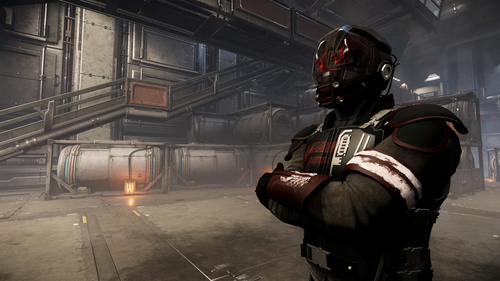 A character from Star Citizen stands in a hangar